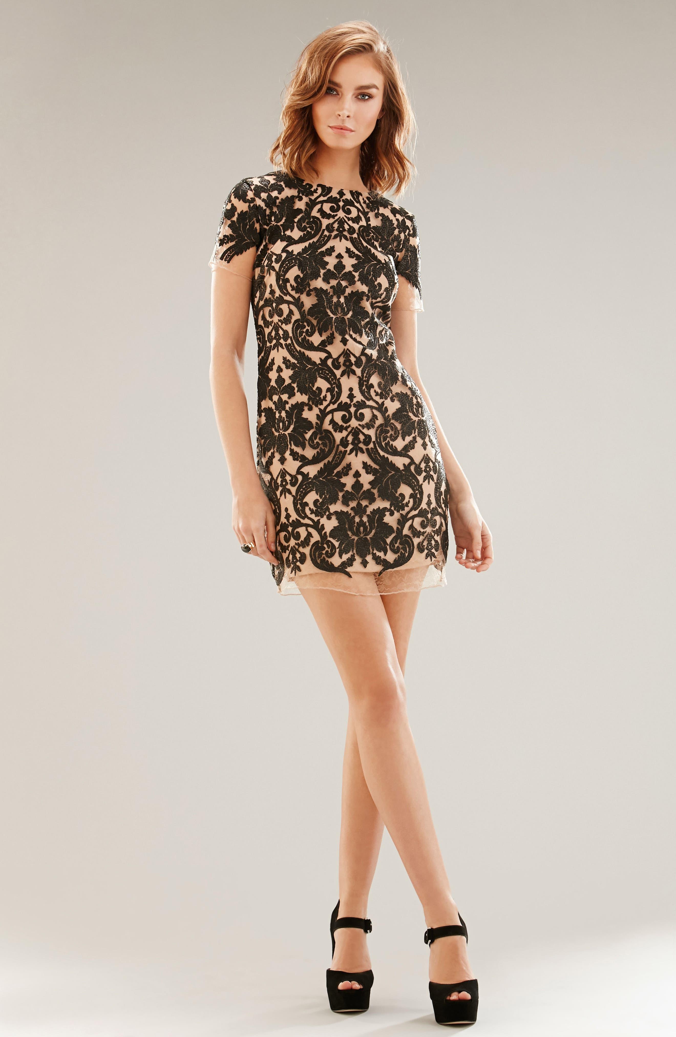 Megan Sequin Lace Sheath Dress,                             Alternate thumbnail 5, color,                             014