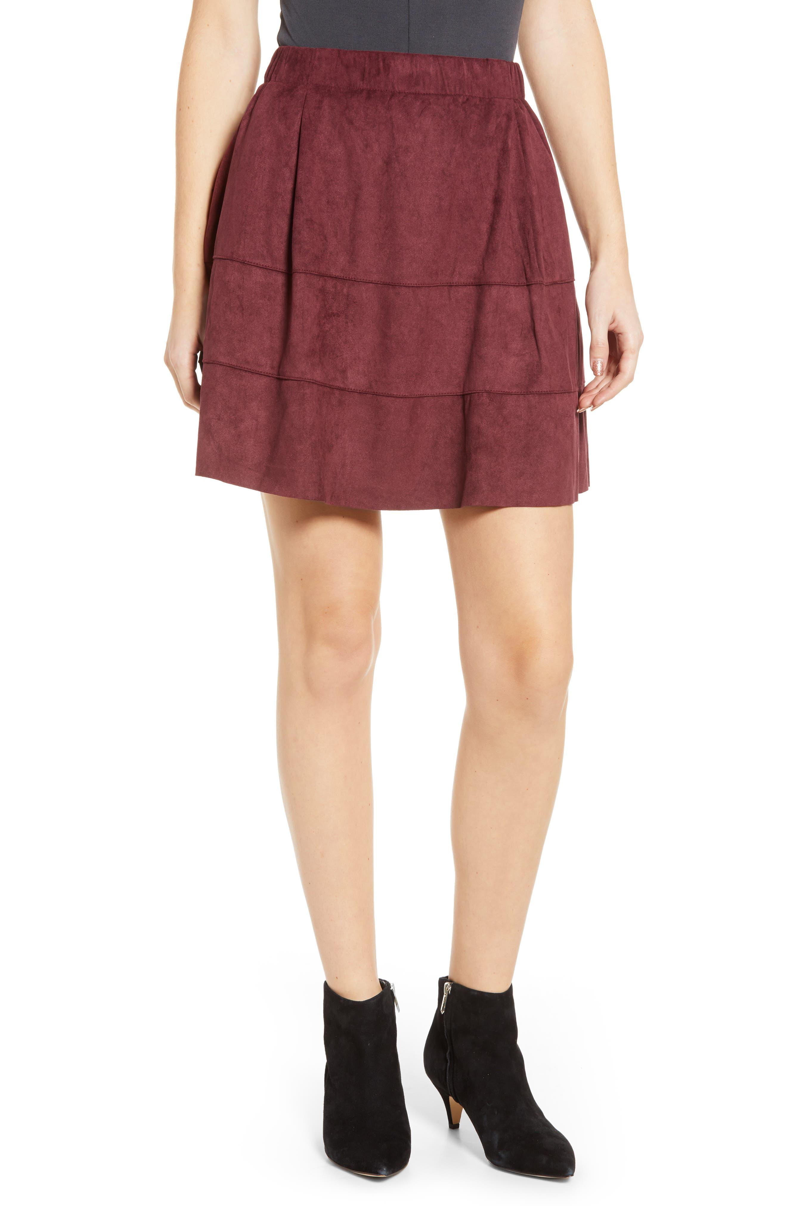 Noisy May Lauren Faux Suede Miniskirt, Burgundy