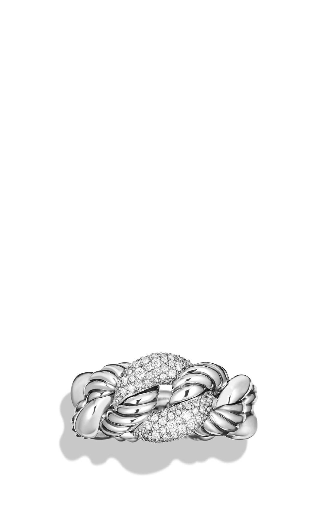 'Belmont' Curb Link Ring with Diamonds,                             Alternate thumbnail 2, color,                             DIAMOND