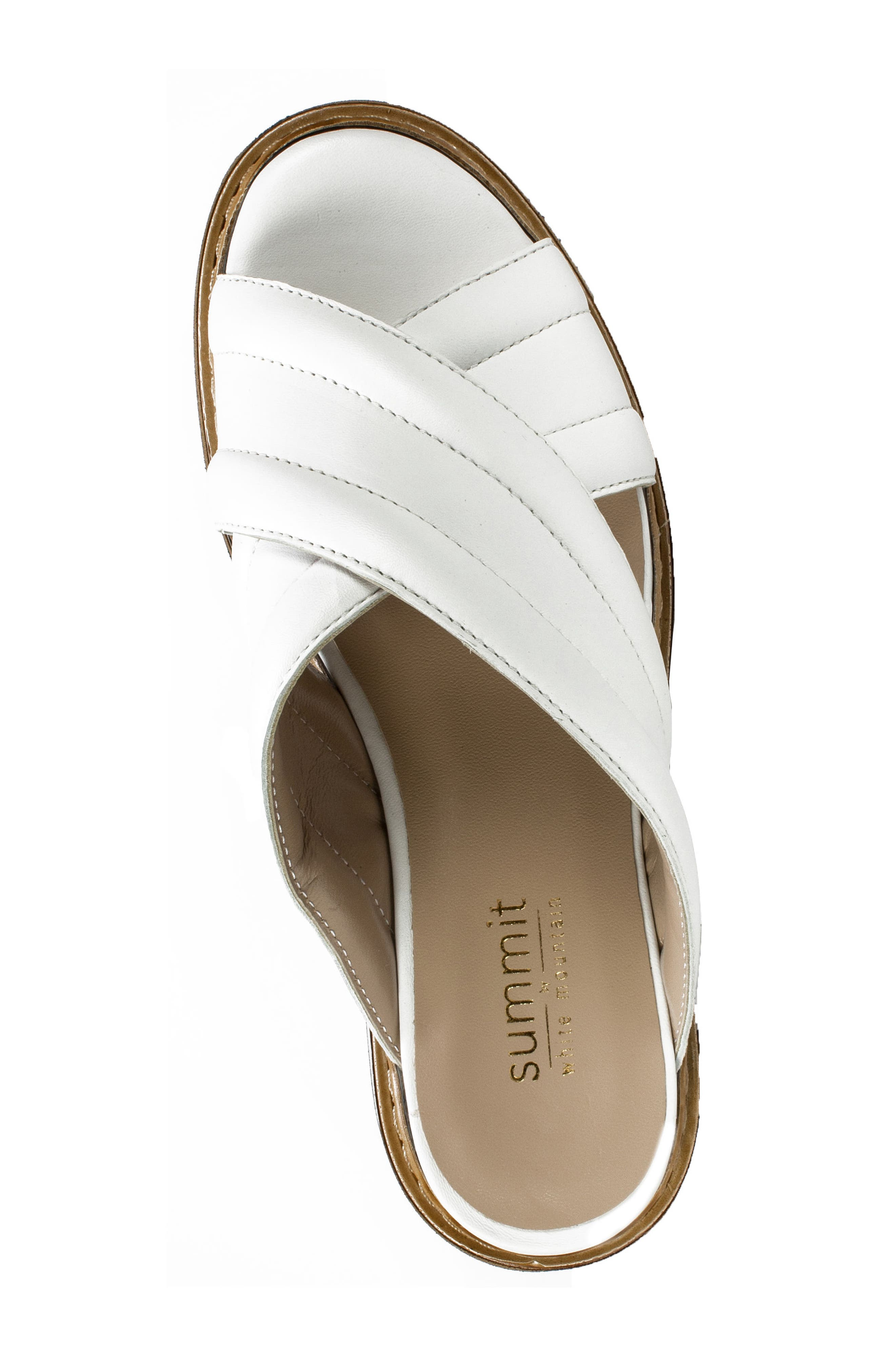 SUMMIT,                             by White Mountain Lowell Platform Slide Sandal,                             Alternate thumbnail 5, color,                             WHITE LEATHER