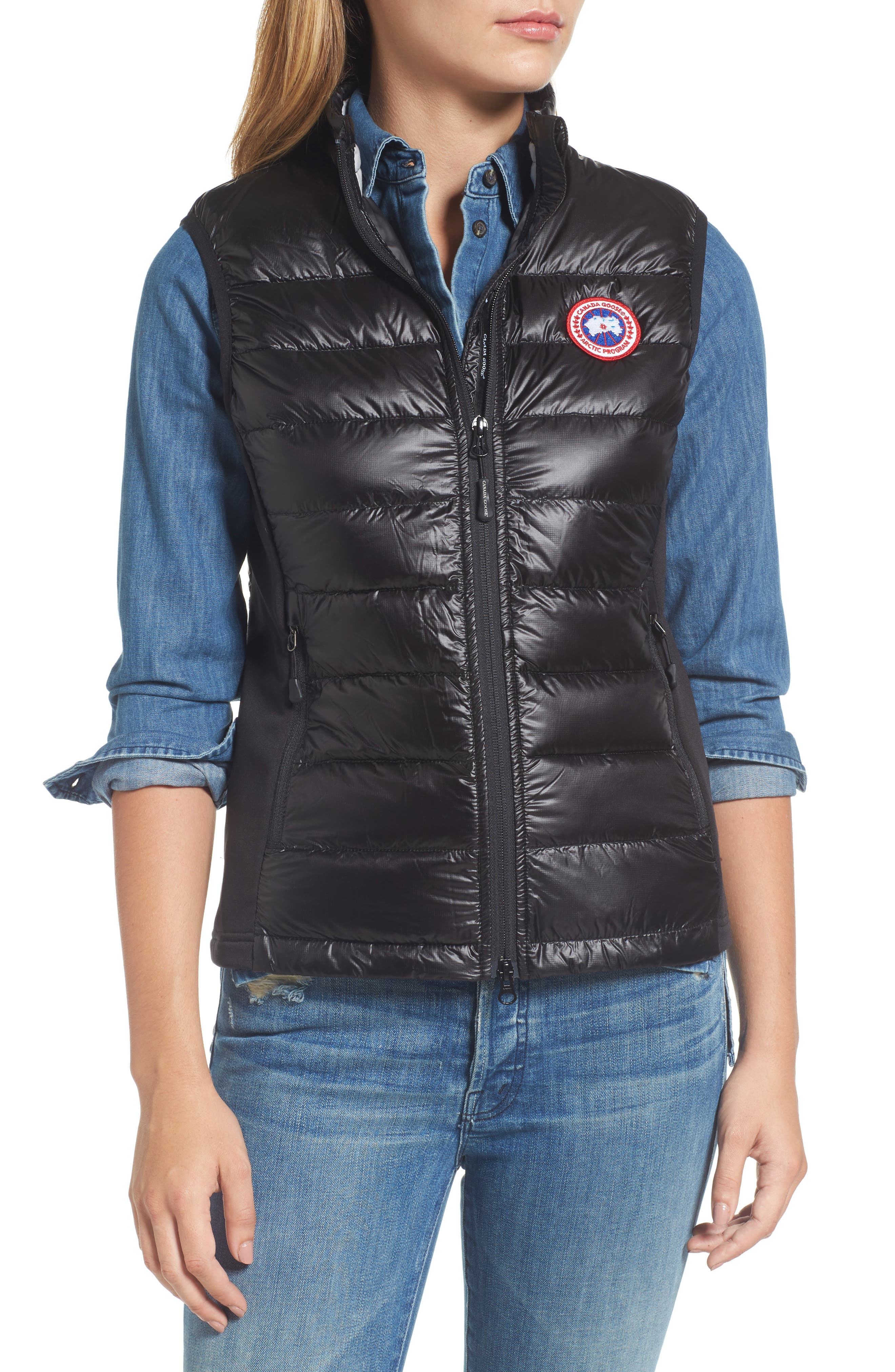 'Hybridge Lite' Slim Fit Packable Down Vest,                             Alternate thumbnail 4, color,                             BLACK/ GRAPHITE
