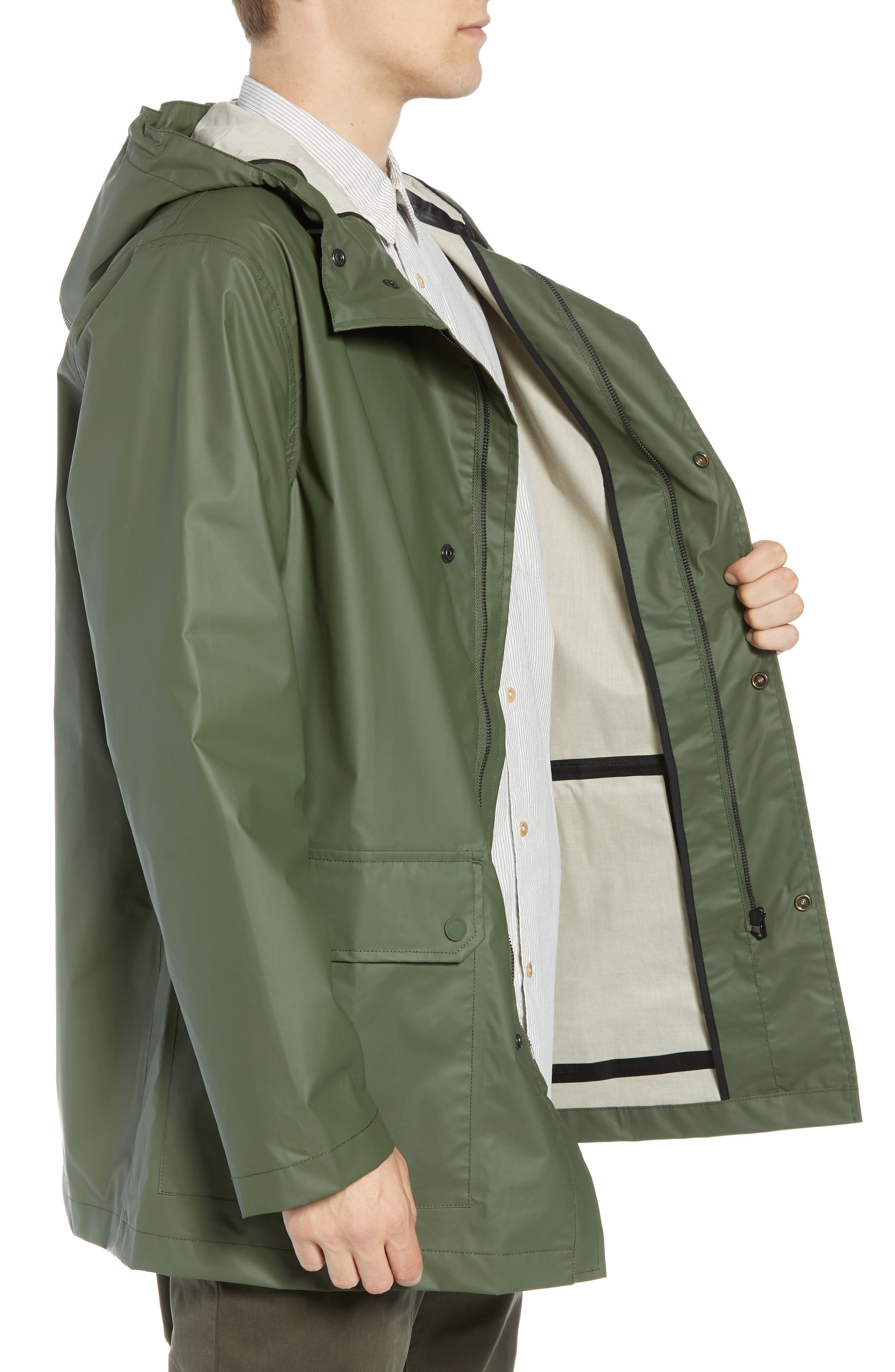 FRENCH CONNECTION,                             Rubber Coated Raincoat,                             Alternate thumbnail 3, color,                             300