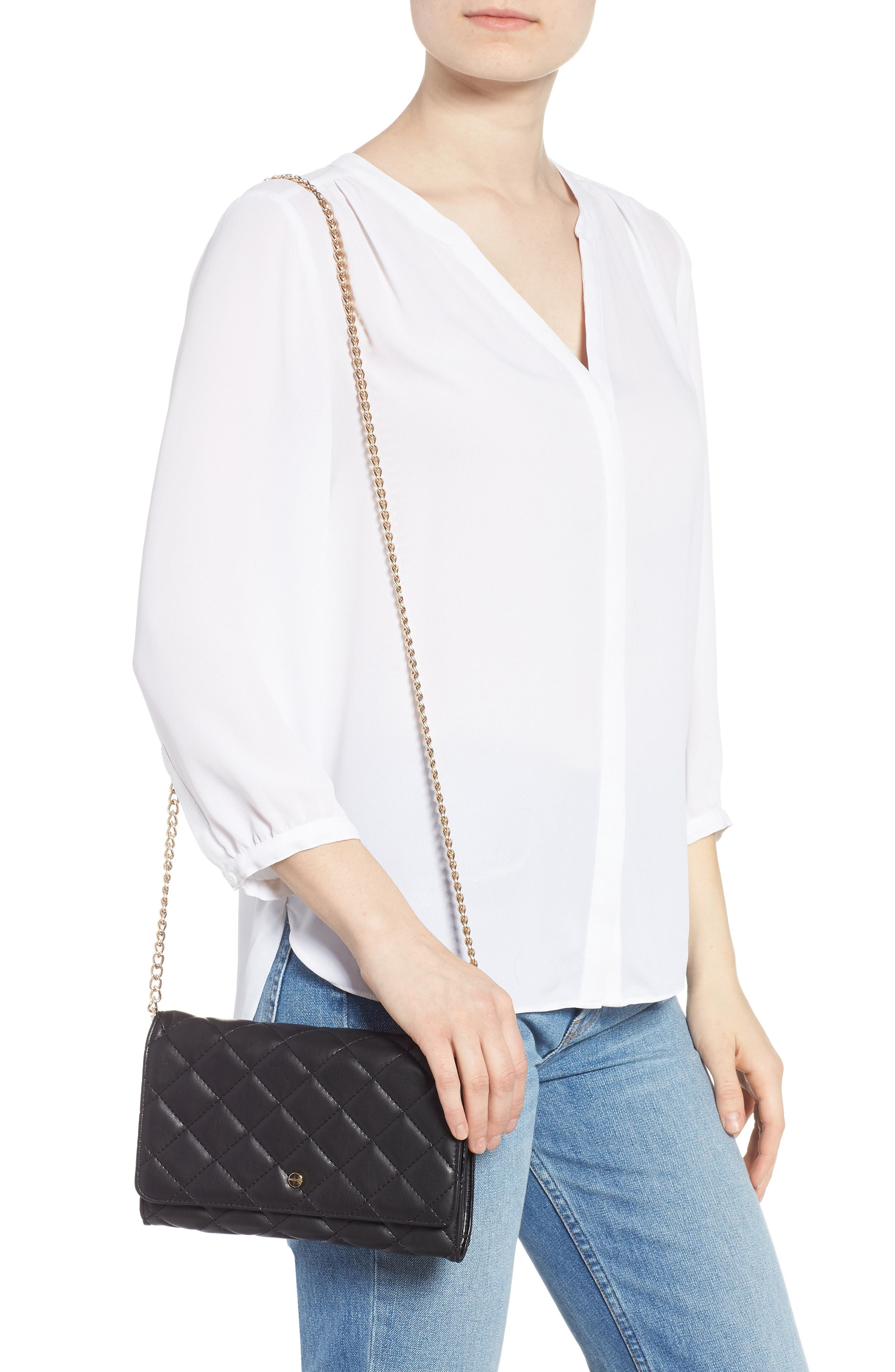 Mali + Lili Ciara Quilted Vegan Leather Convertible Clutch,                             Alternate thumbnail 2, color,                             BLACK