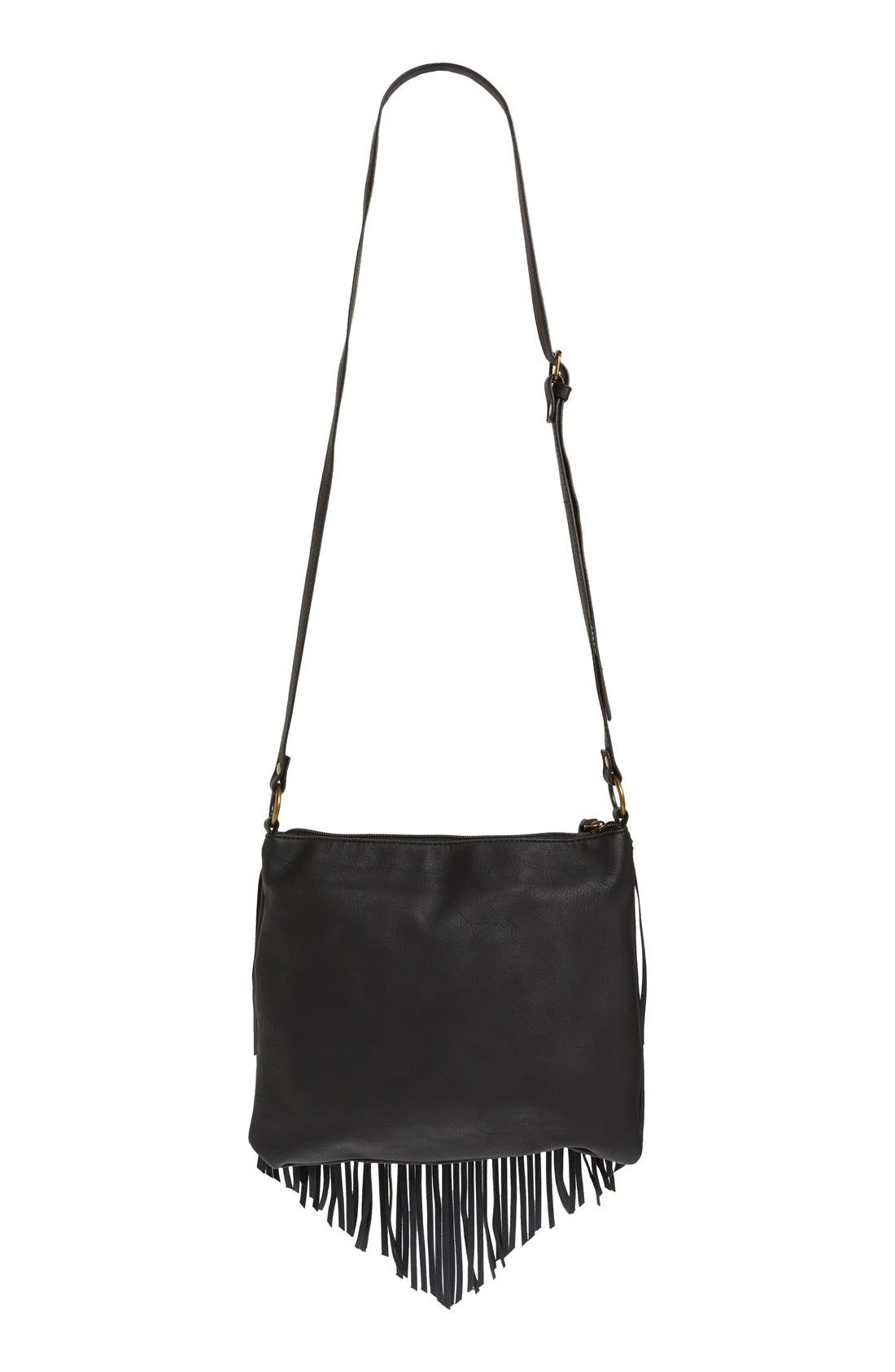 Layered Fringe Crossbody Bag,                             Alternate thumbnail 5, color,                             001