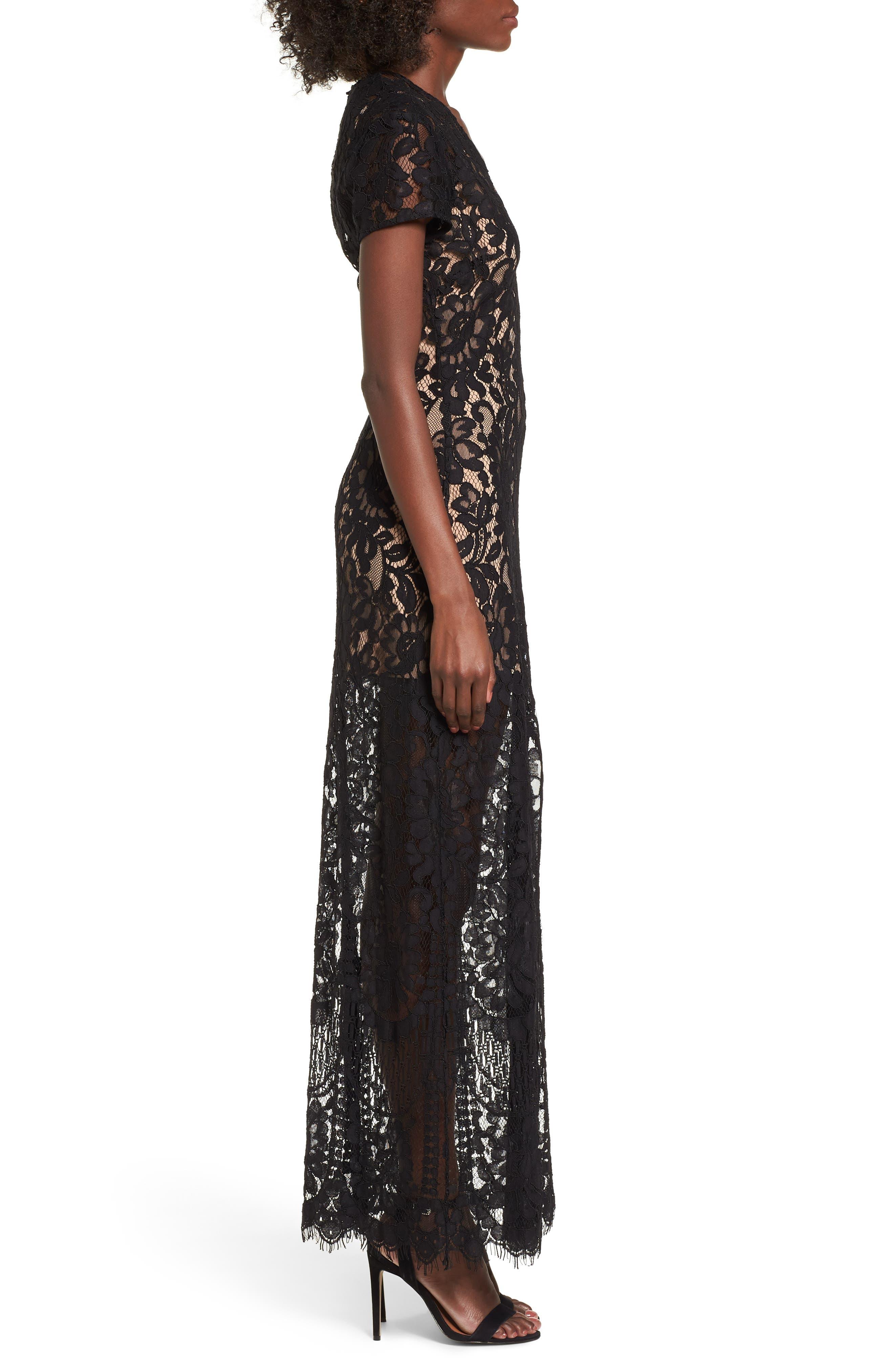V-Neck Lace Maxi Dress,                             Alternate thumbnail 3, color,                             001