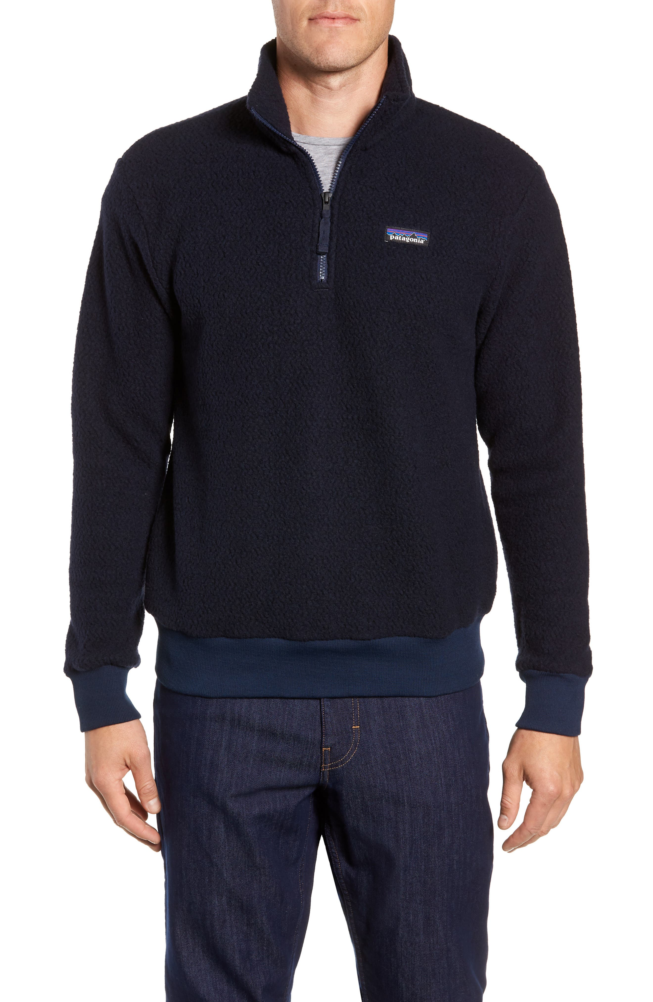 PATAGONIA,                             Woolyester Fleece Quarter Zip Pullover,                             Main thumbnail 1, color,                             CLASSIC NAVY