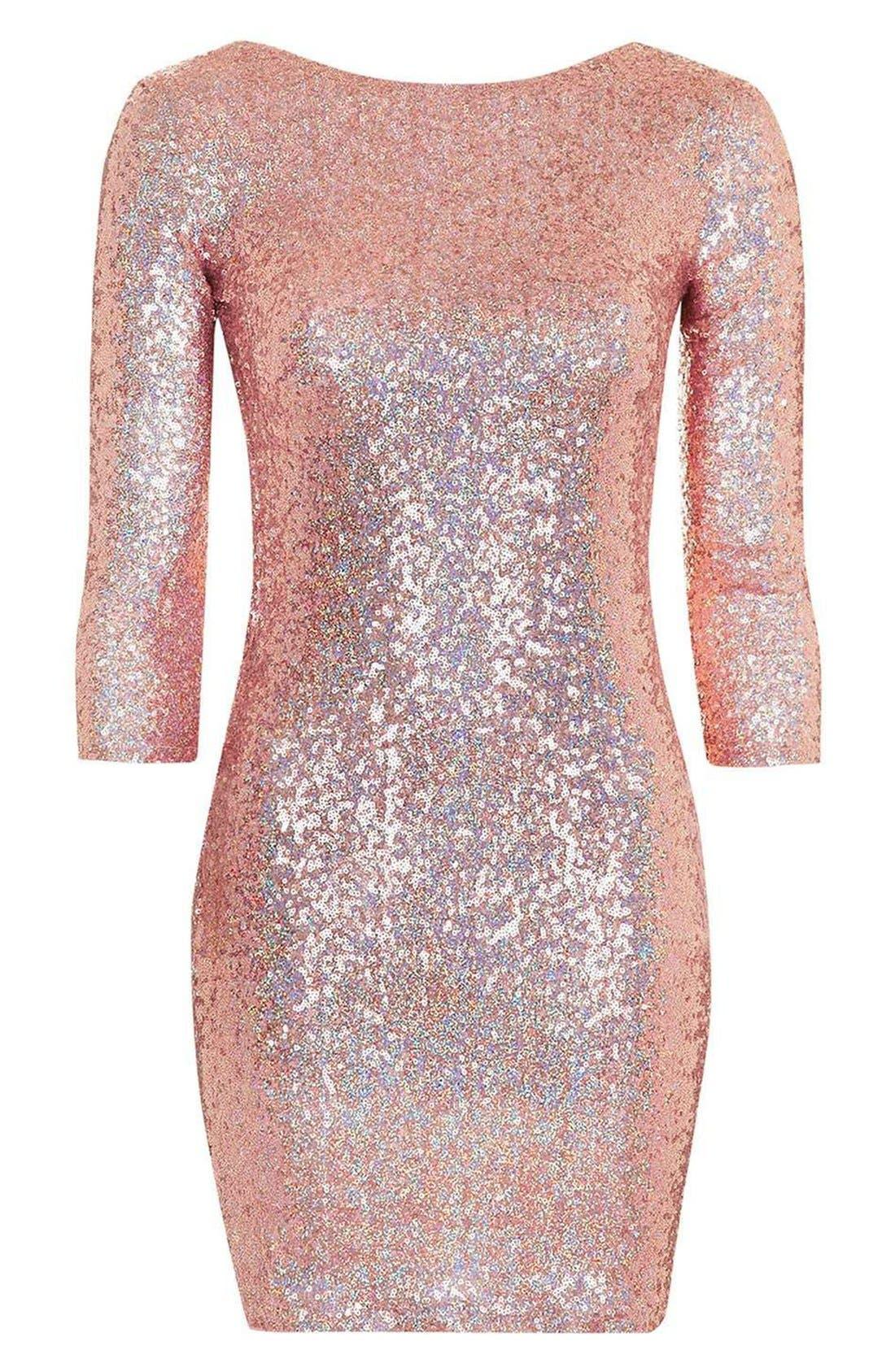 Sequin Body-Con Minidress,                             Alternate thumbnail 4, color,