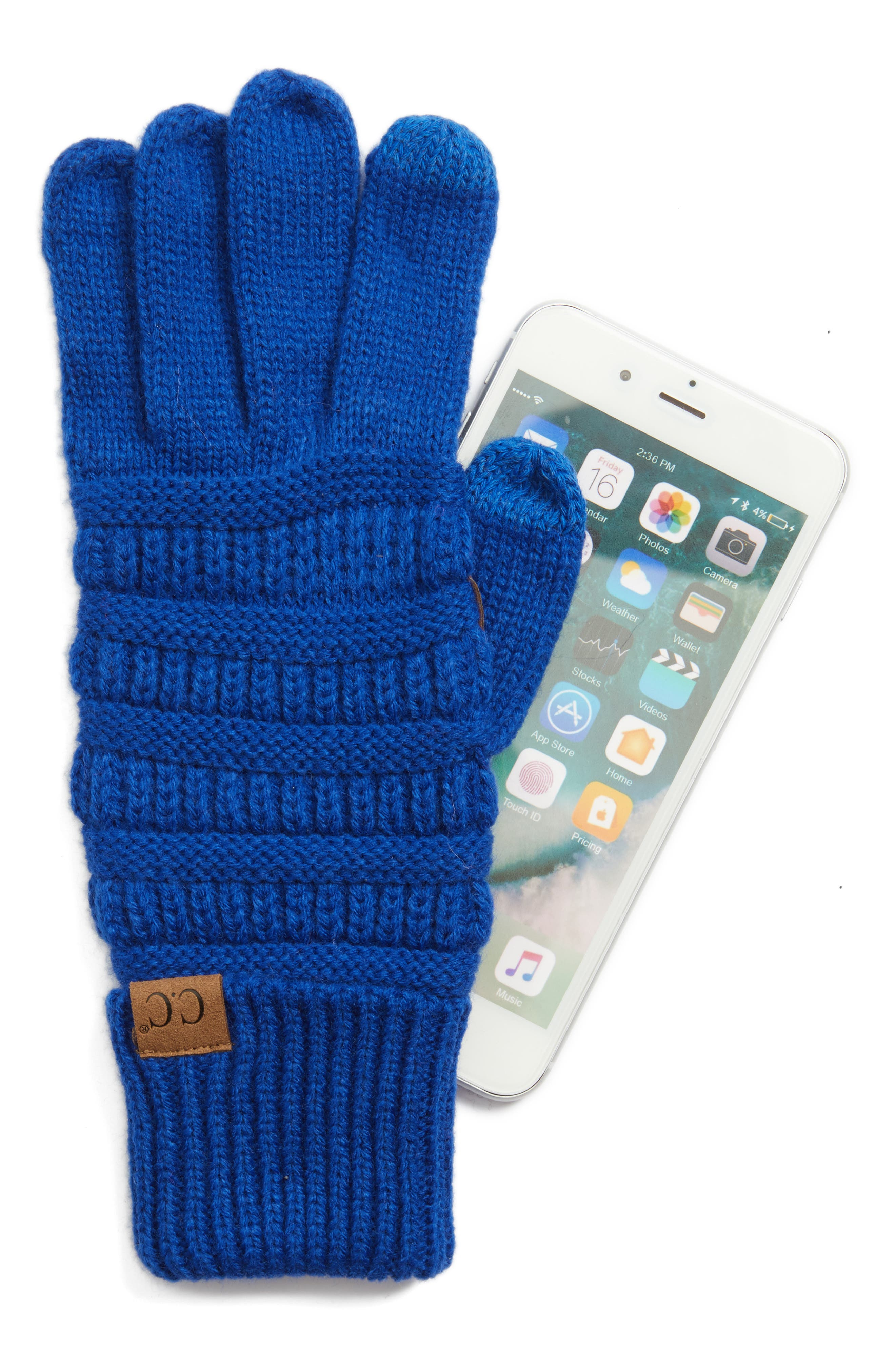 Rib Knit Tech Gloves,                             Alternate thumbnail 12, color,