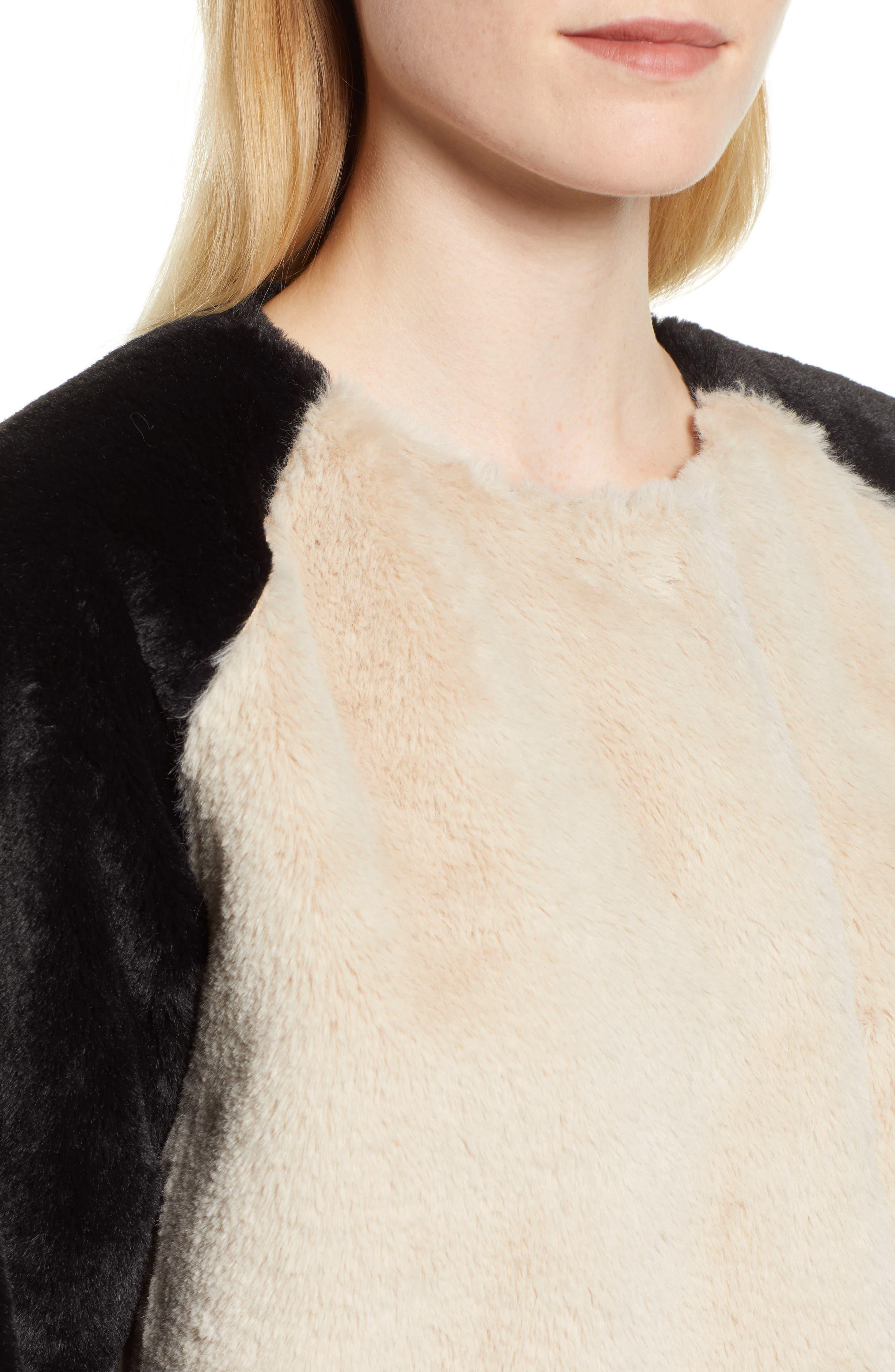 Colorblock Faux Fur Jacket,                             Alternate thumbnail 4, color,                             MULTI