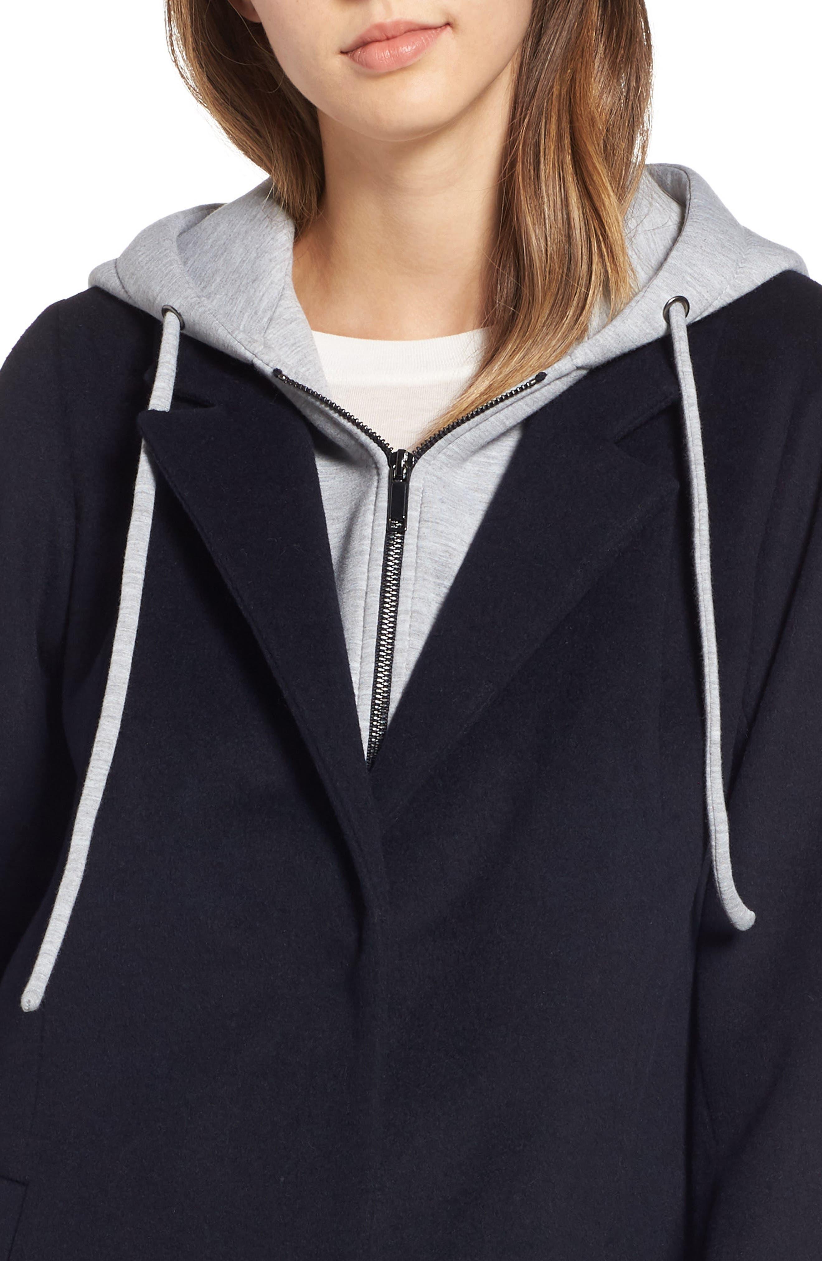 Hoodie Inset Wool Blend Coat,                             Alternate thumbnail 4, color,                             NAVY