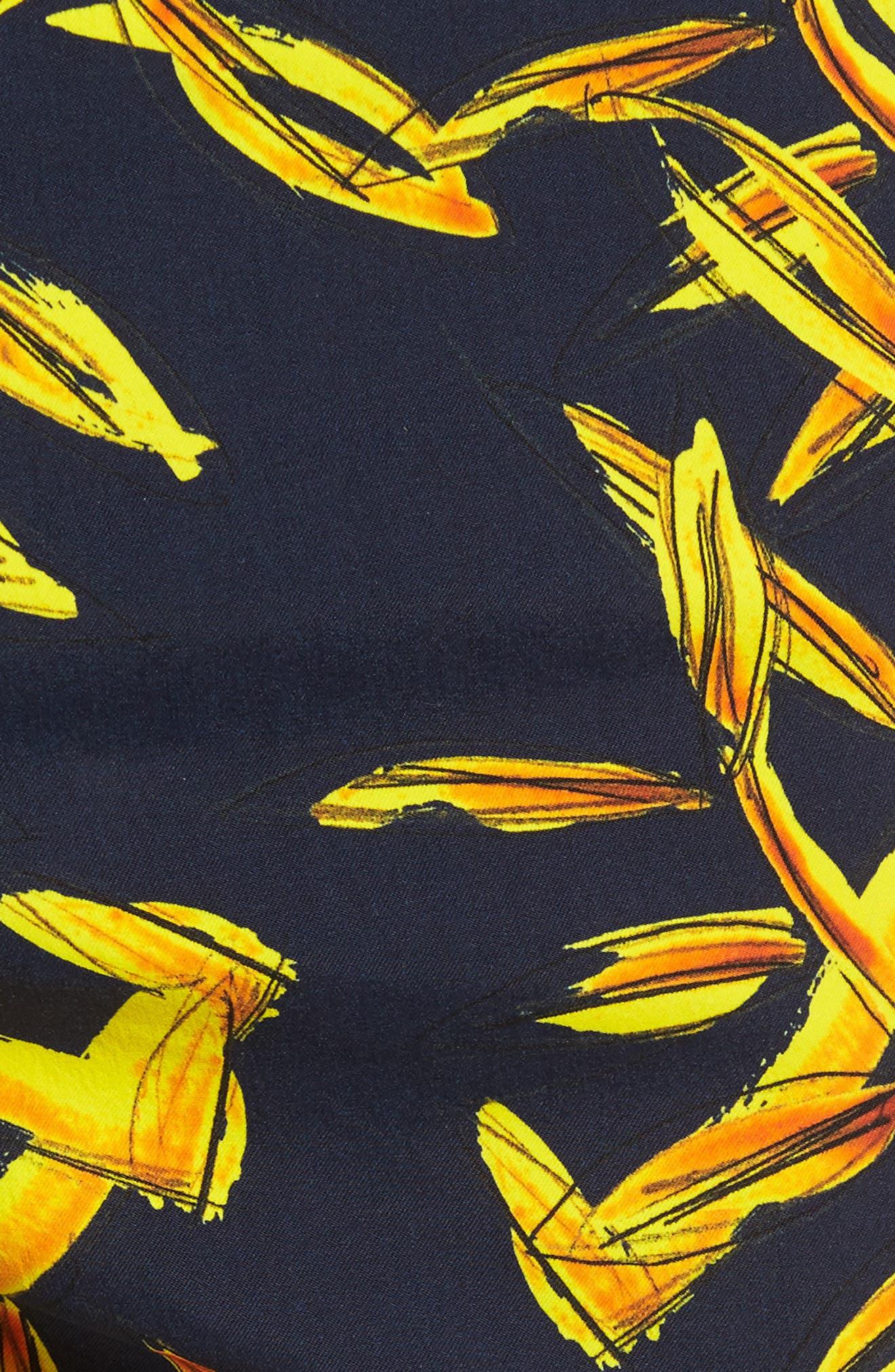 Superflex Gold Palms Print Swim Trunks,                             Alternate thumbnail 5, color,                             NAVY BLUE
