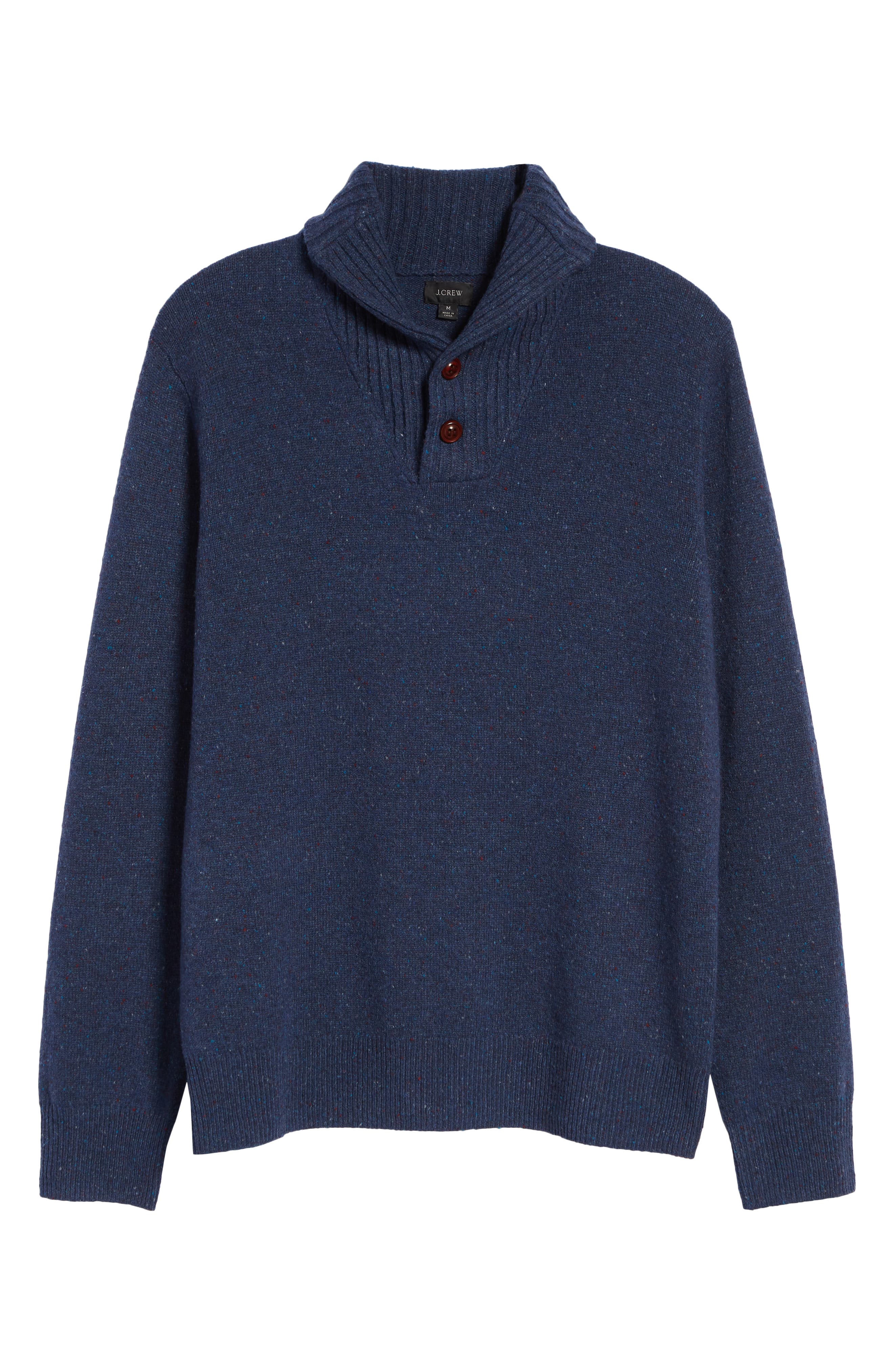 Rugged Merino Wool Blend Shawl Collar Pullover Sweater,                             Alternate thumbnail 6, color,                             NAVY DONEGAL