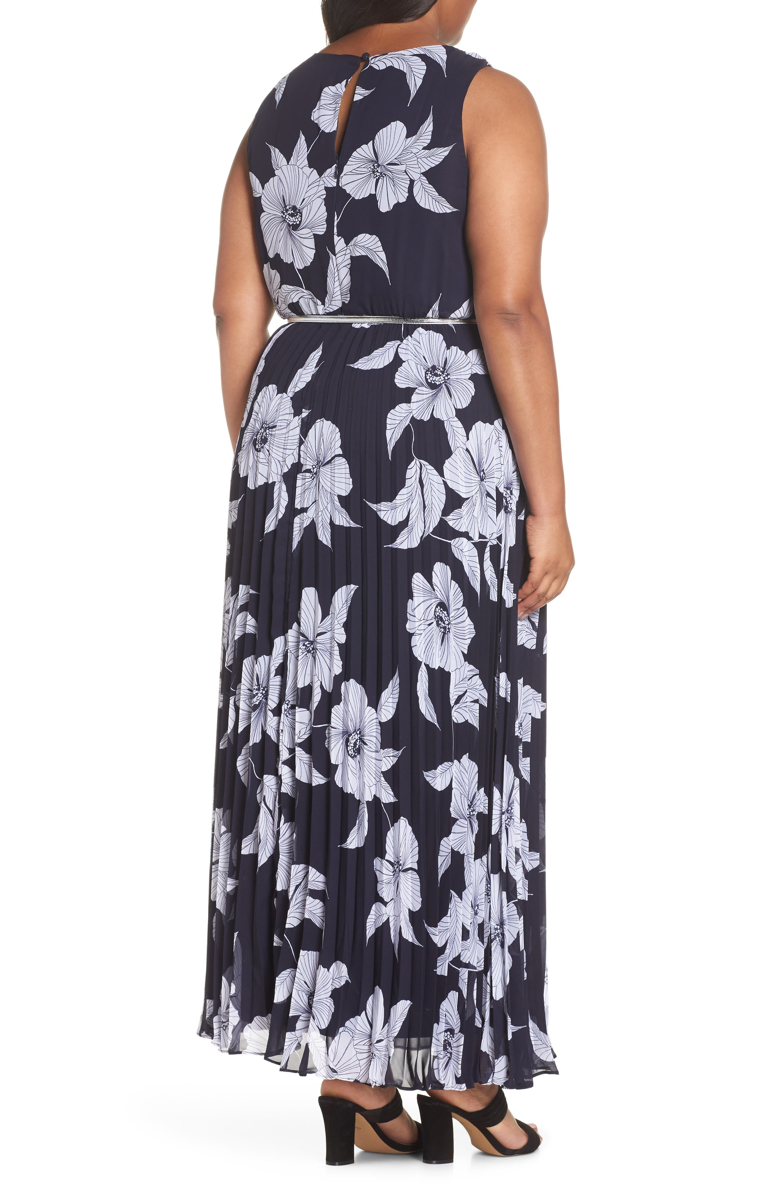 Floral Belted Pleated Maxi Dress,                             Alternate thumbnail 2, color,                             400