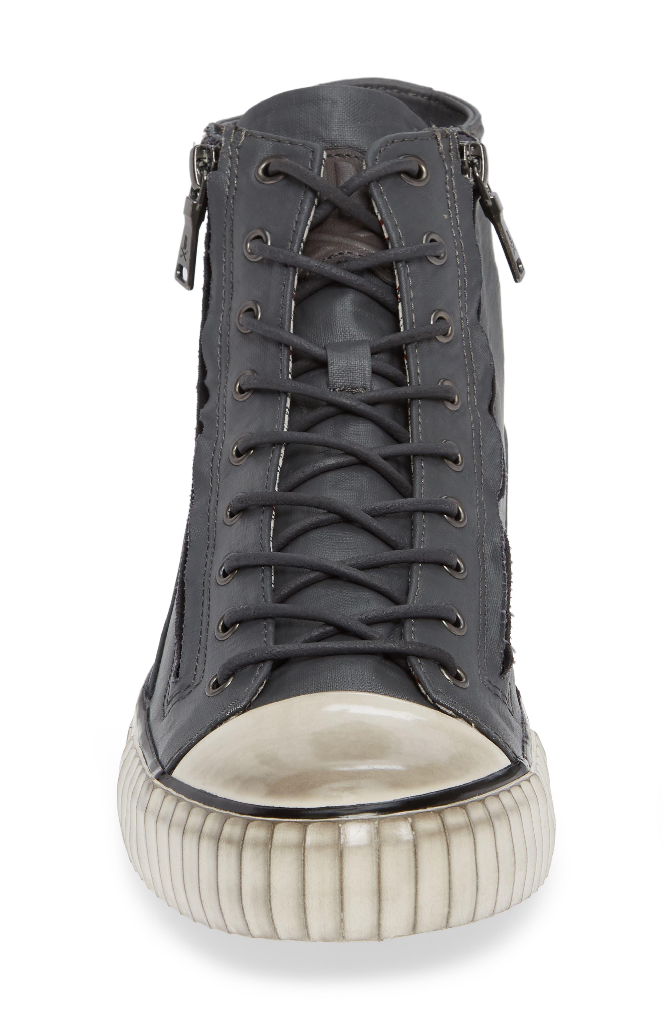 John Varvatos Star USA Bootleg Sneaker,                             Alternate thumbnail 4, color,                             GREY COATED LINEN