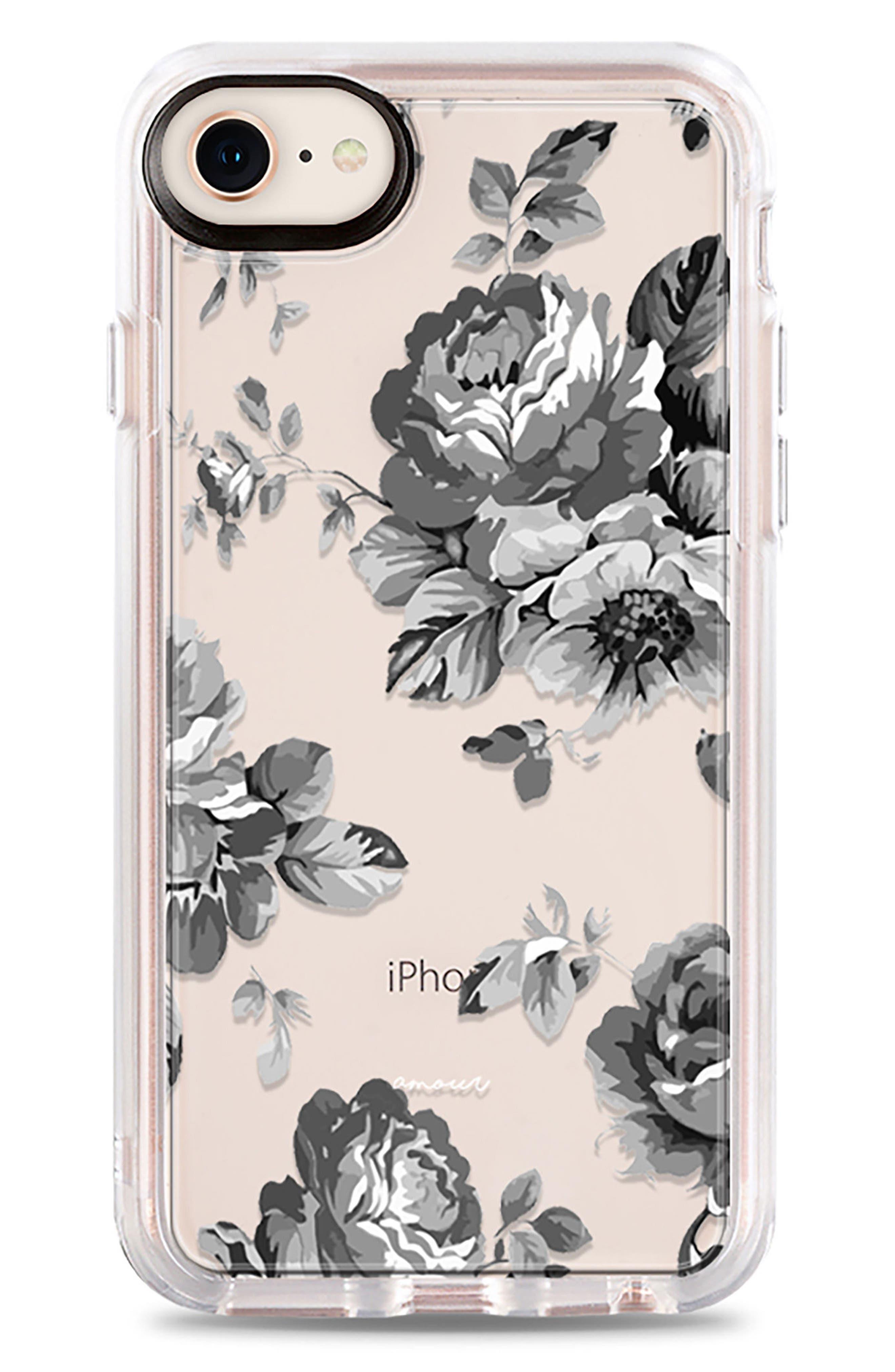 Black Floral iPhone 7/8 & 7/8 Plus Case,                             Main thumbnail 1, color,                             020