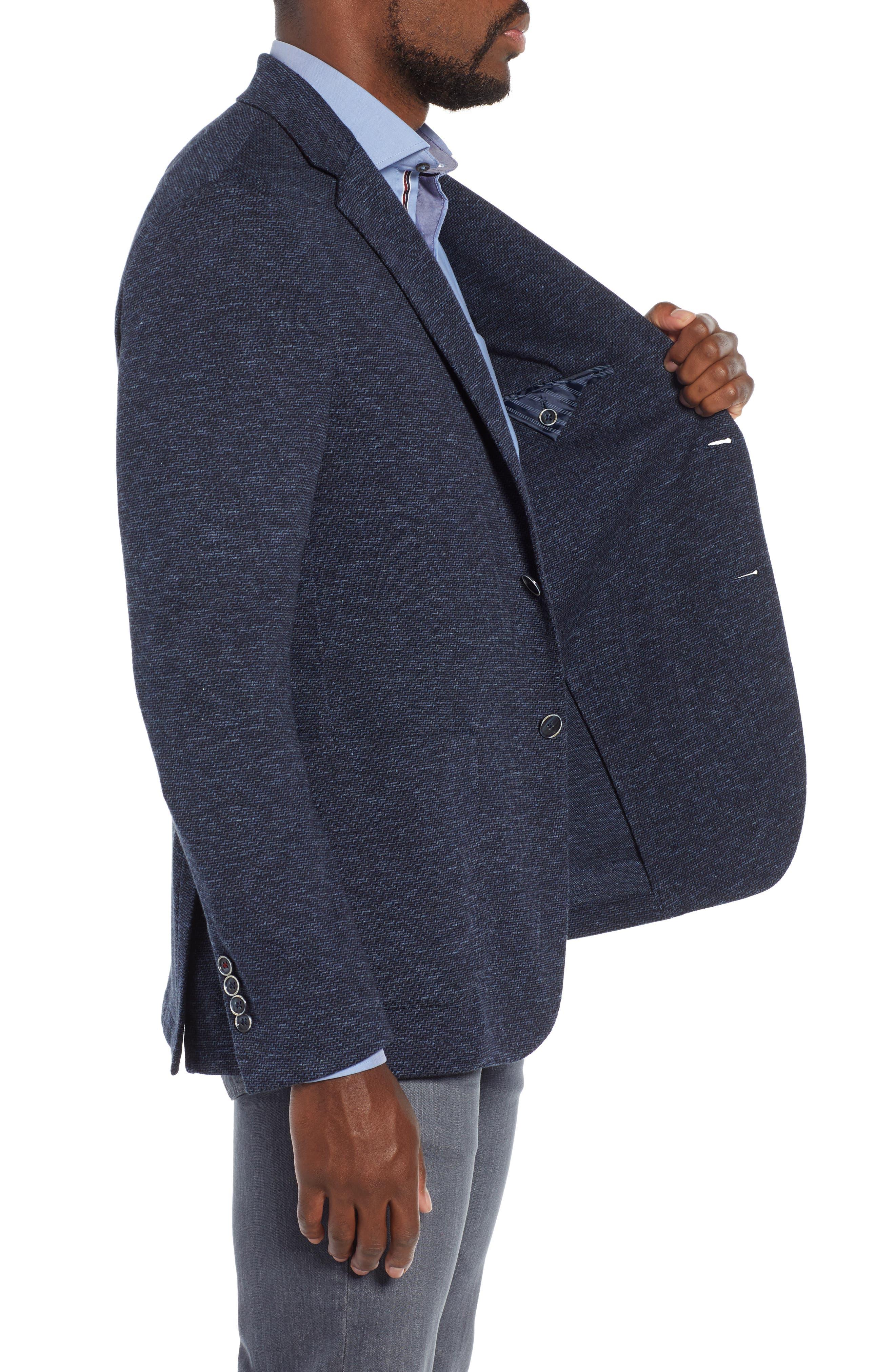 Stretch Cotton Knit Sport Coat,                             Alternate thumbnail 3, color,                             DENIM