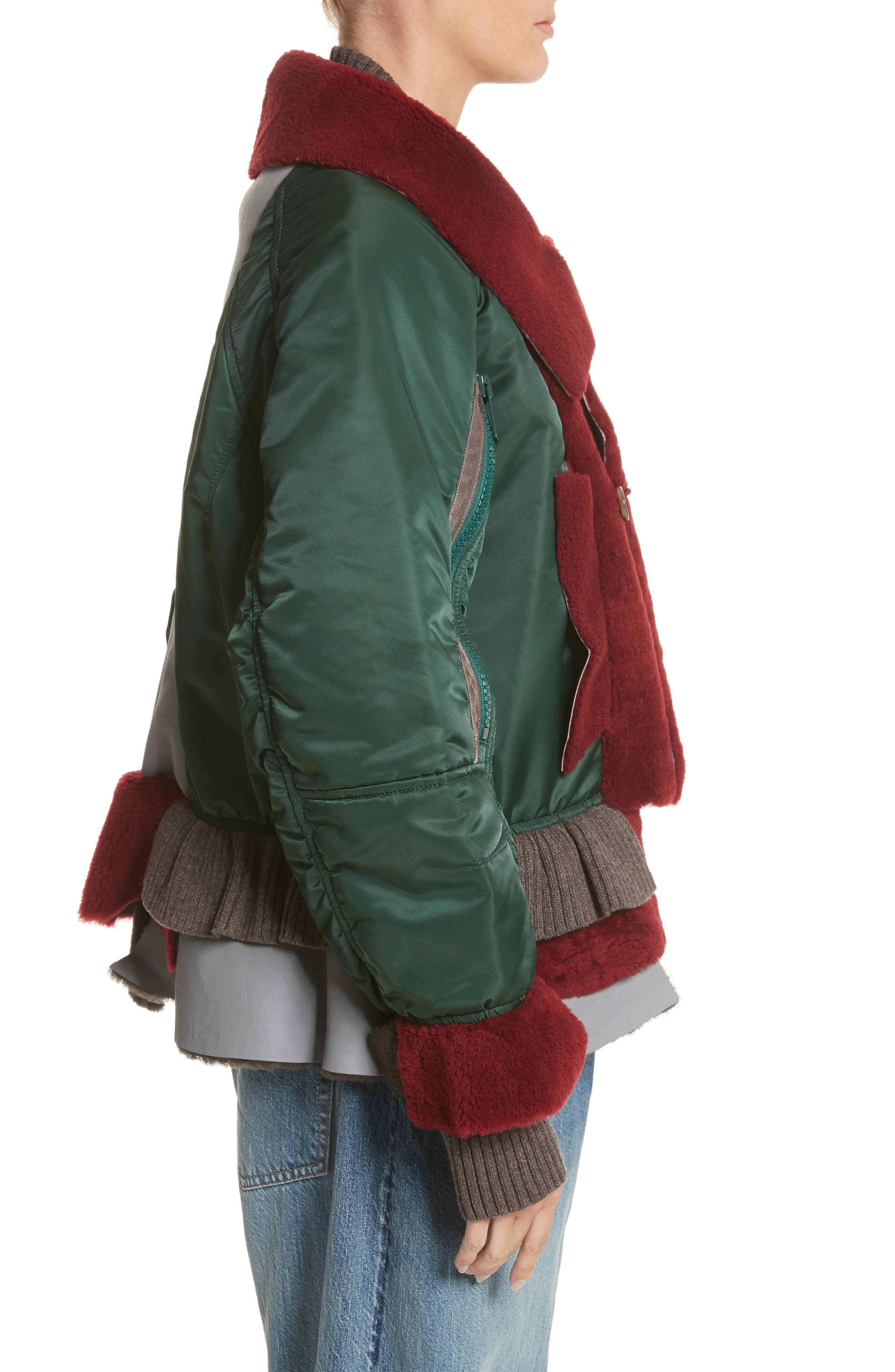 Mixed Media Bomber Jacket with Genuine Shearling Trim,                             Alternate thumbnail 3, color,