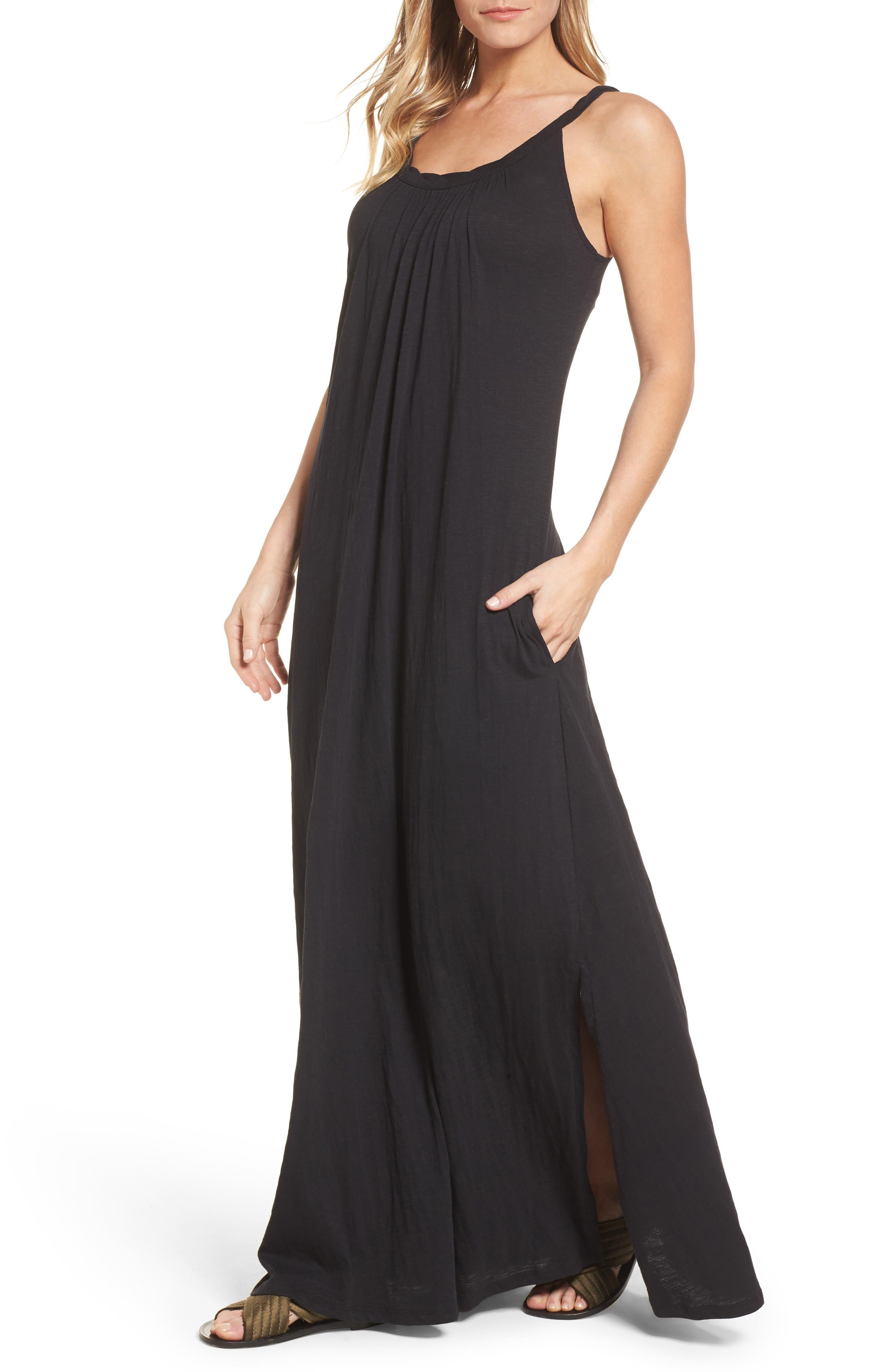 CASLON<SUP>®</SUP>,                             Twist Neck Maxi Dress,                             Main thumbnail 1, color,                             BLACK