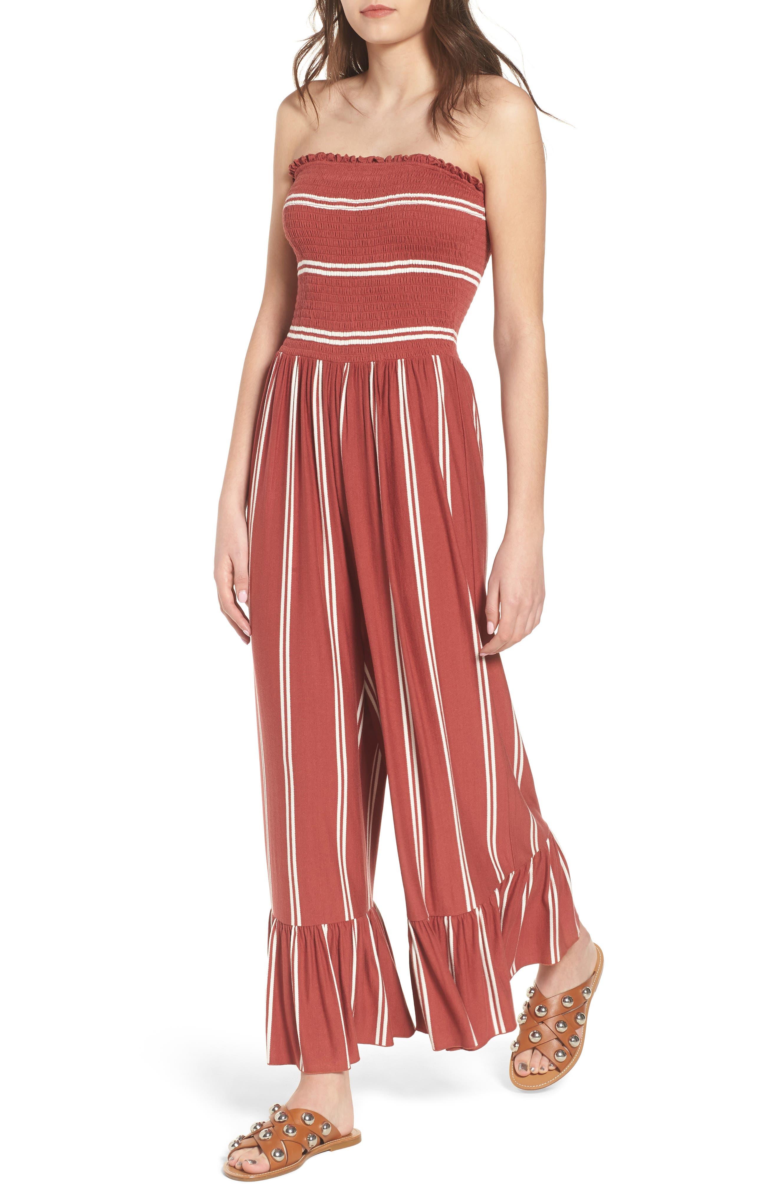 Smocked Ruffle Hem Jumpsuit,                         Main,                         color, 221