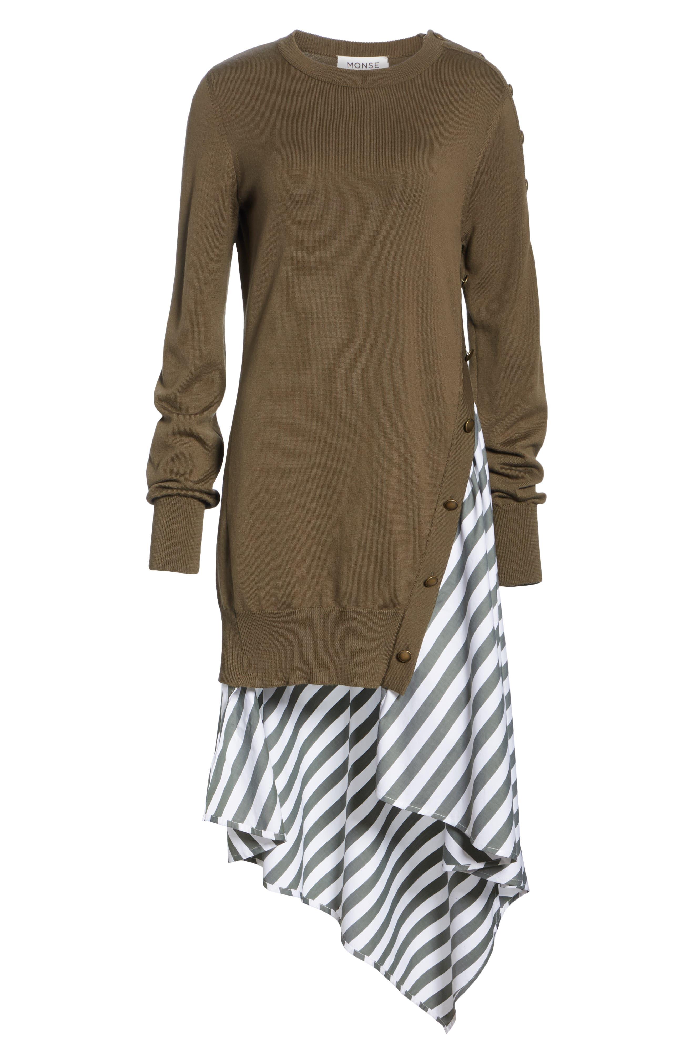MONSE,                             Knit & Stripe Poplin Asymmetrical Dress,                             Alternate thumbnail 6, color,                             OLIVE/ WHITE