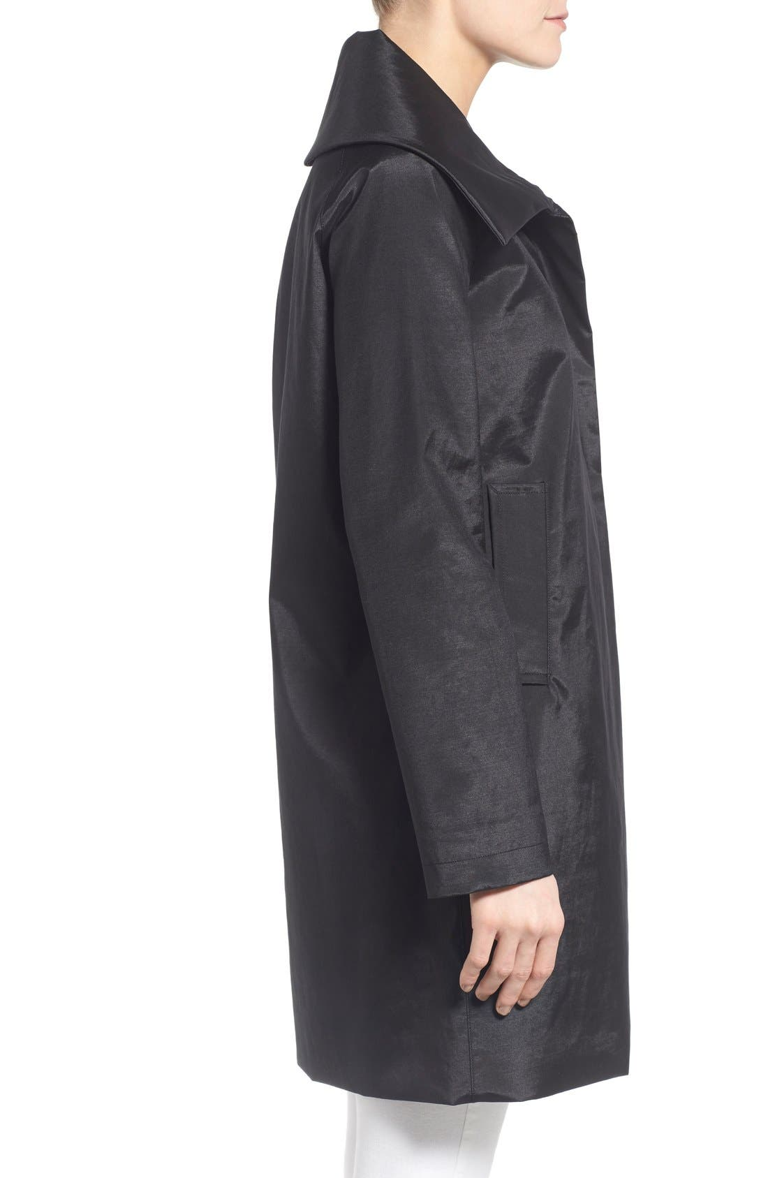 JANE POST,                             Envelope Collar A-Line Raincoat,                             Alternate thumbnail 2, color,                             001