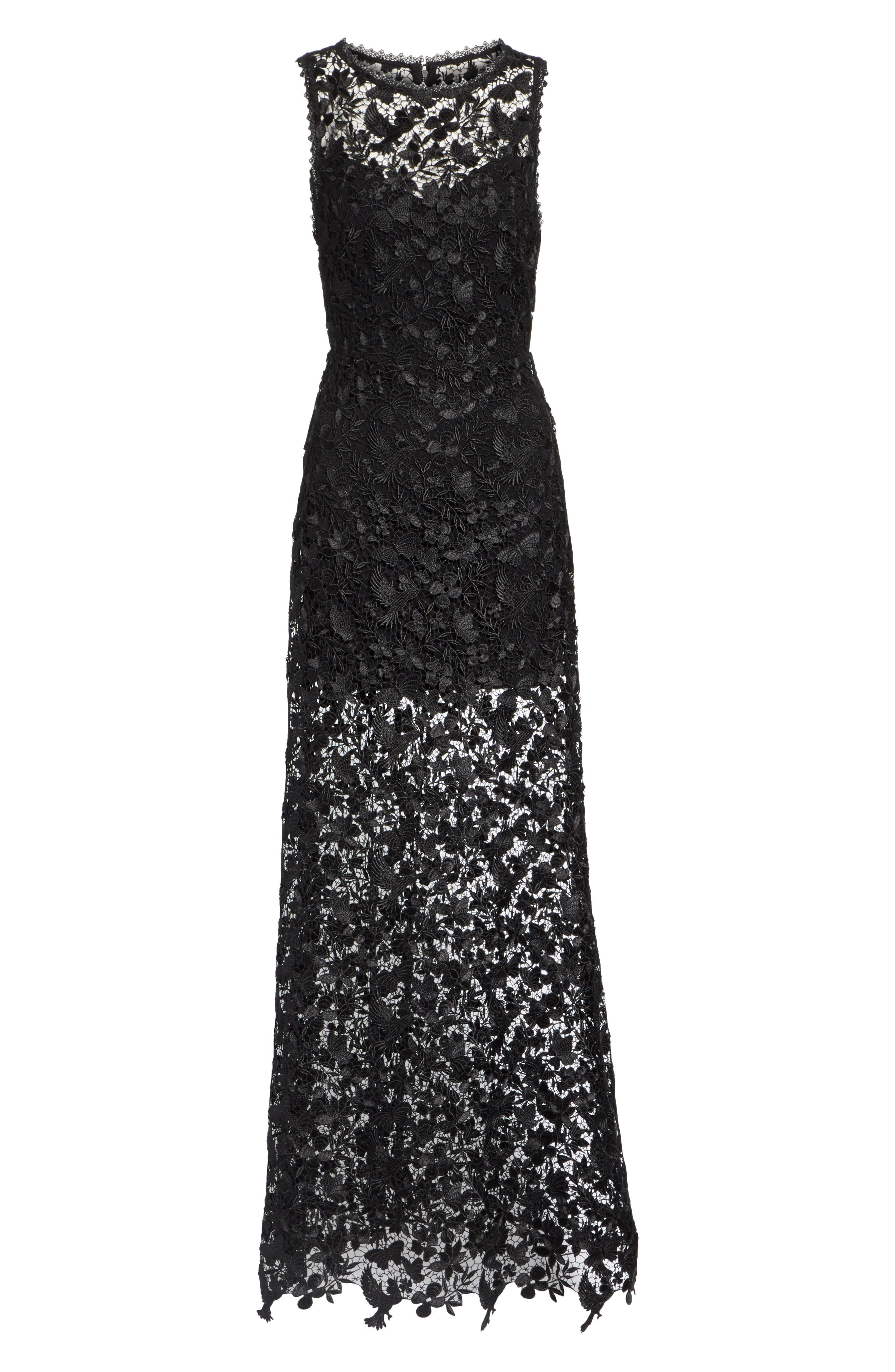 ALICE + OLIVIA,                             Danielle Silk Lace Overlay Sheer Maxi Dress,                             Alternate thumbnail 6, color,                             001