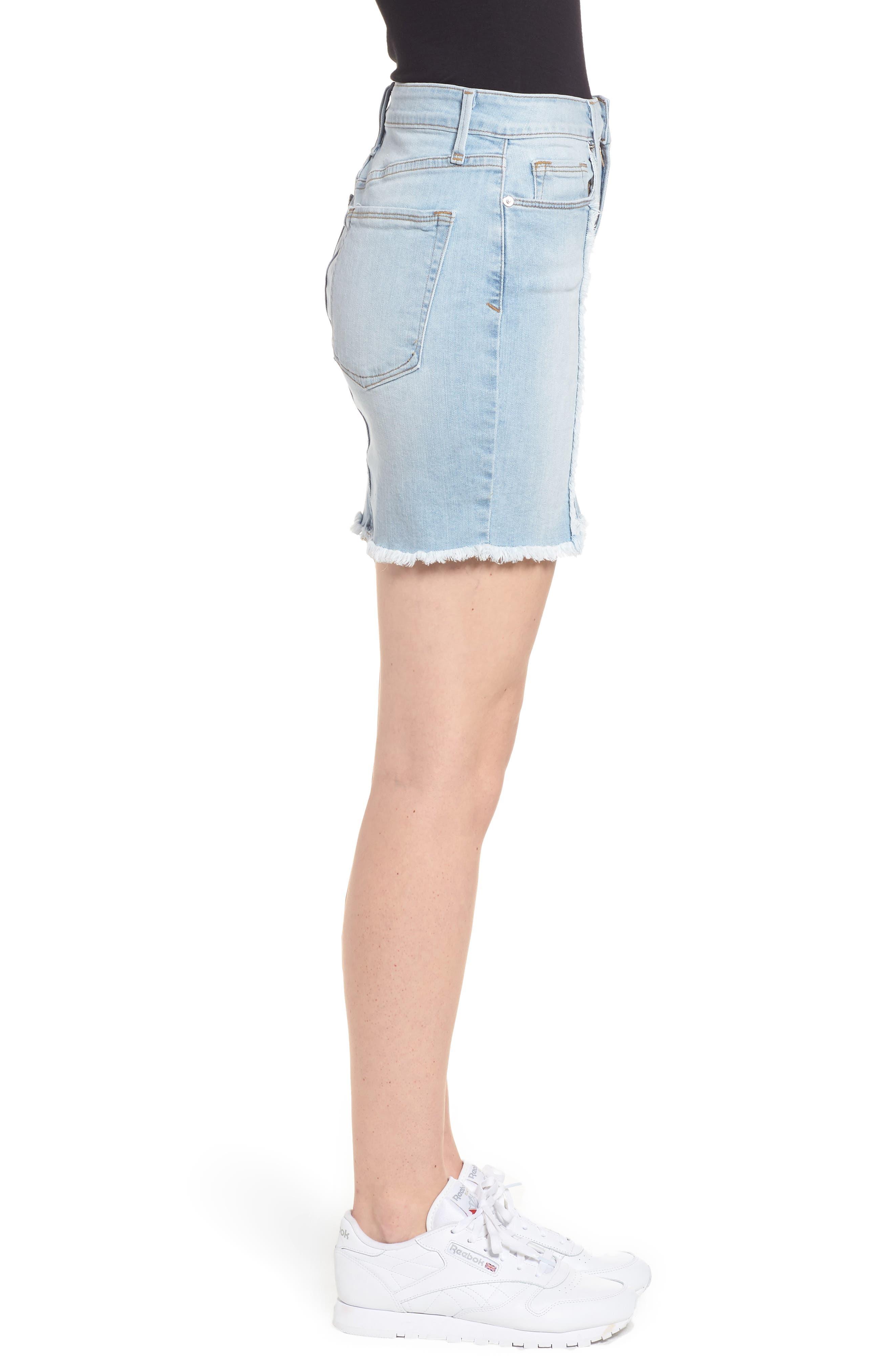 The Mini Distressed Seams Denim Miniskirt,                             Alternate thumbnail 3, color,                             401
