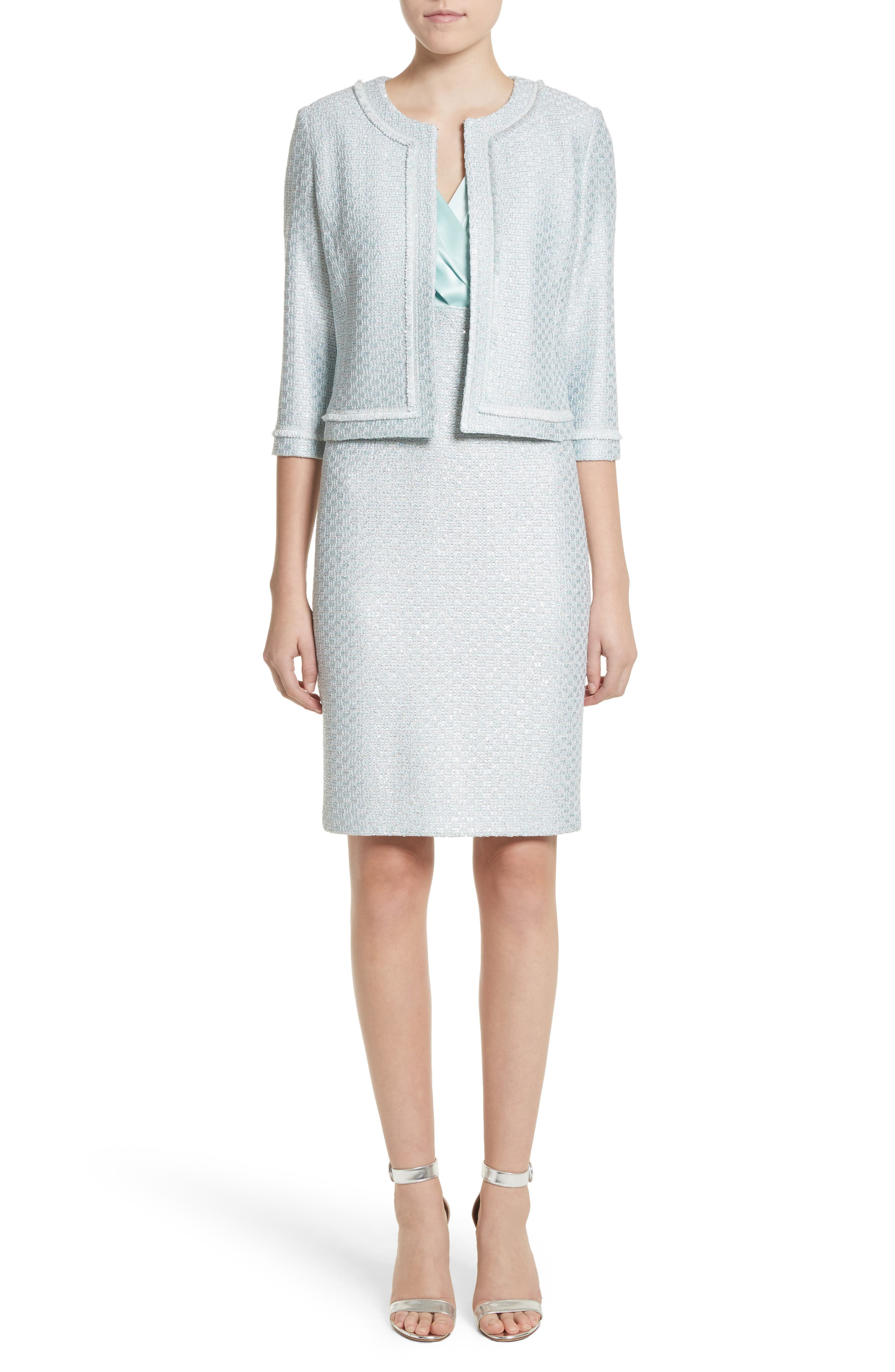 Hansh Satin & Knit Sheath Dress,                             Alternate thumbnail 7, color,                             440
