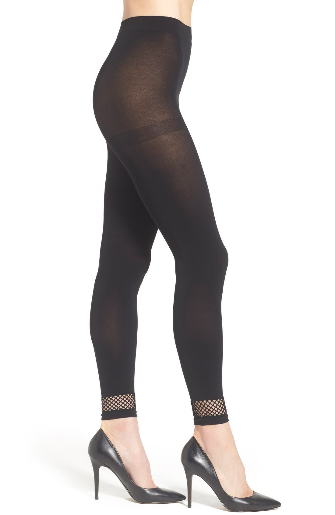 CHELSEA28 Mesh Band Footless Tights, Main, color, 001