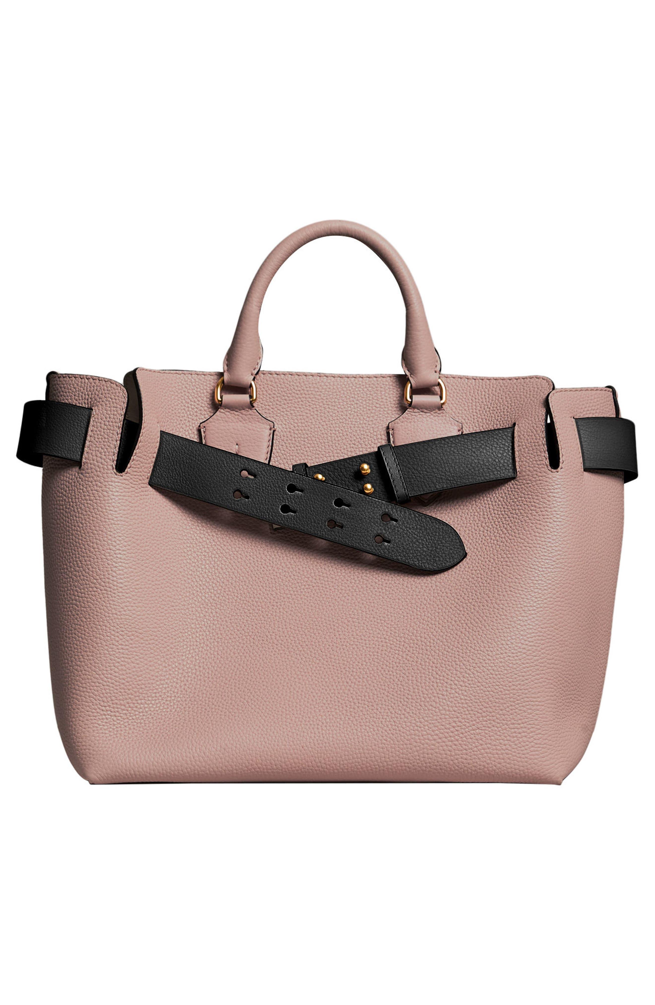 Medium Belt Bag Leather Tote,                             Alternate thumbnail 3, color,                             PALE ASH ROSE