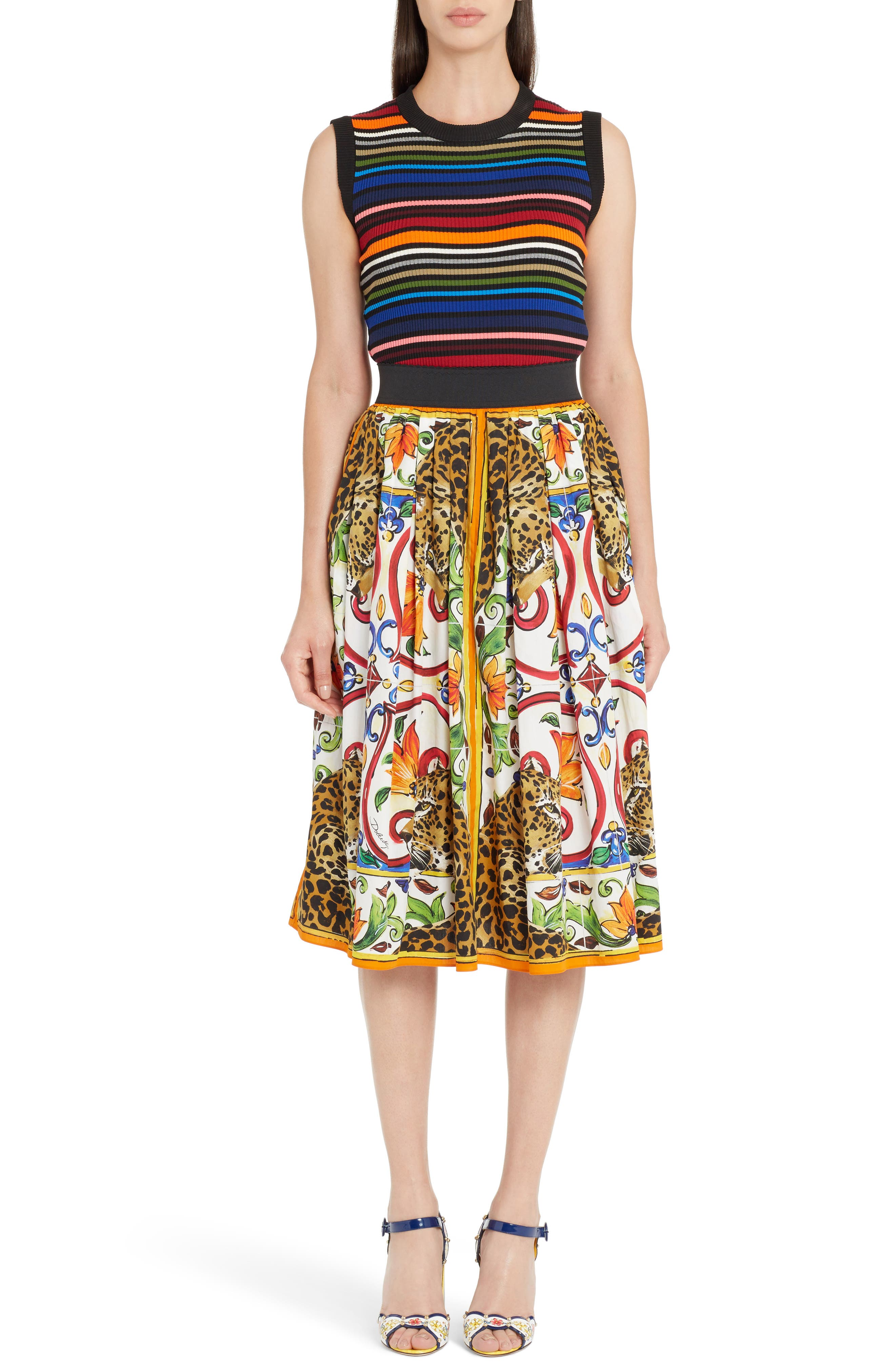 Maiolica Print Cotton Skirt,                             Alternate thumbnail 6, color,                             115