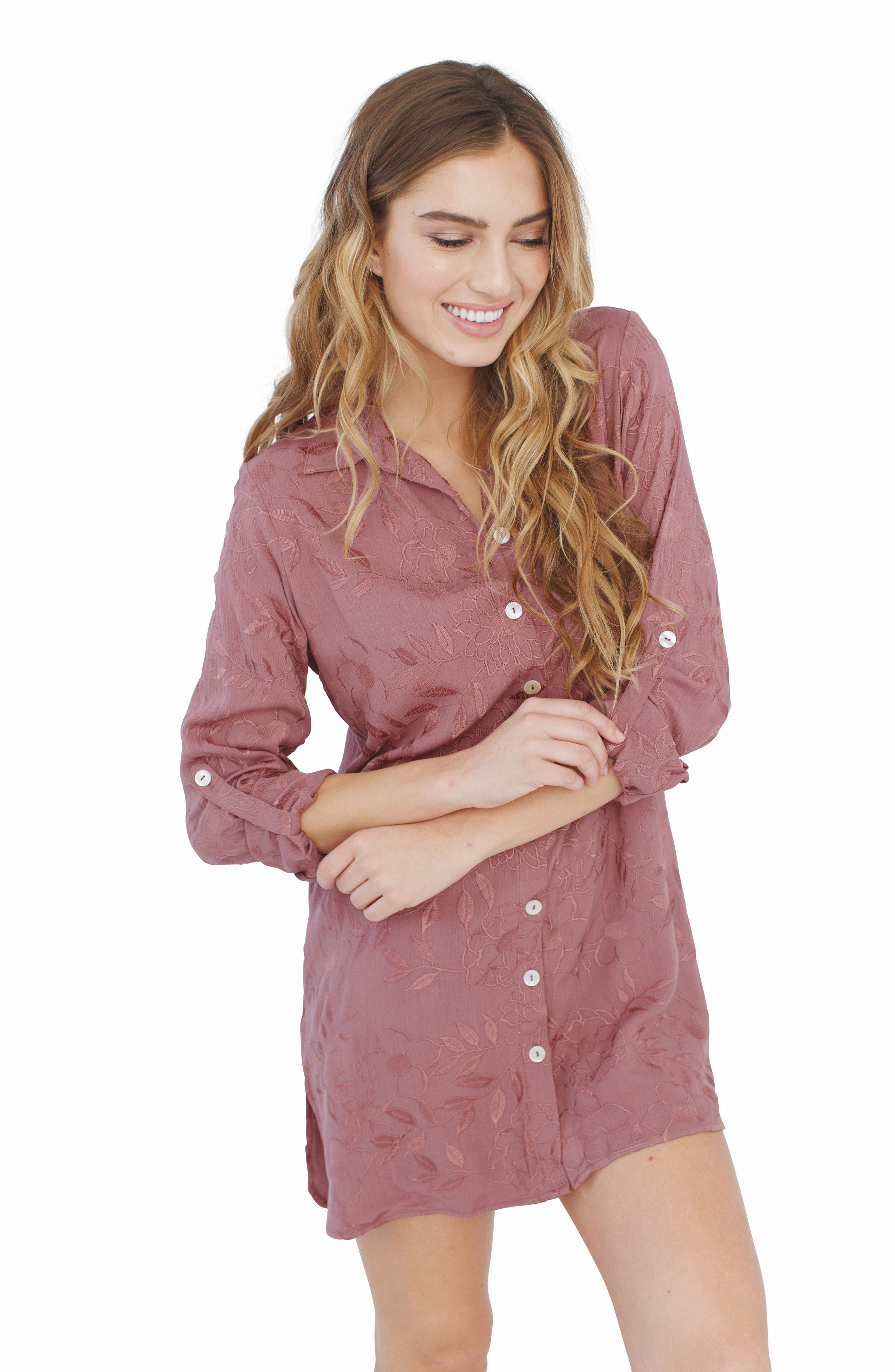 Floral Embroidered Nightshirt,                             Alternate thumbnail 4, color,                             510