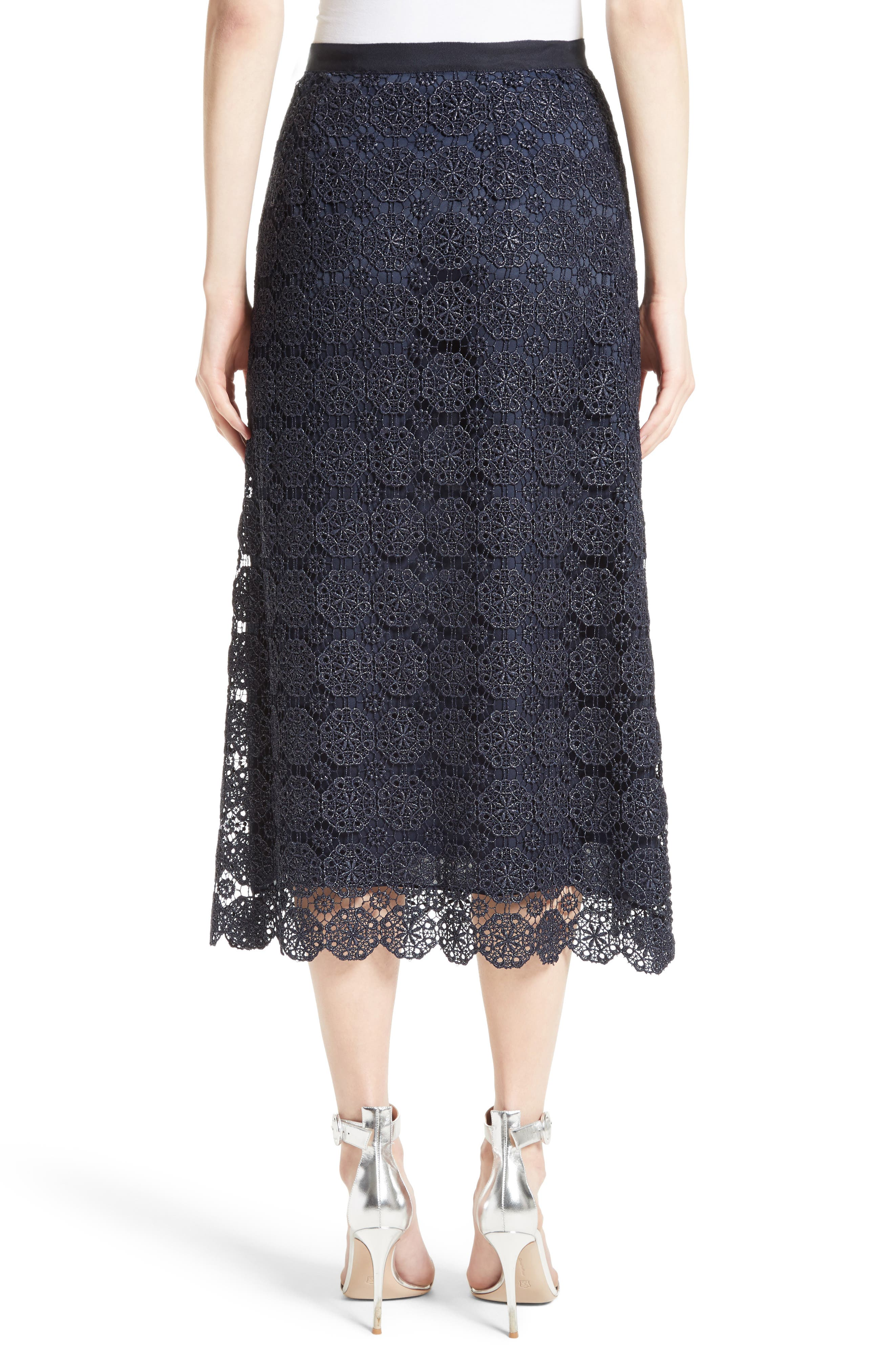 Metallic Guipure Lace Skirt,                             Alternate thumbnail 2, color,                             410