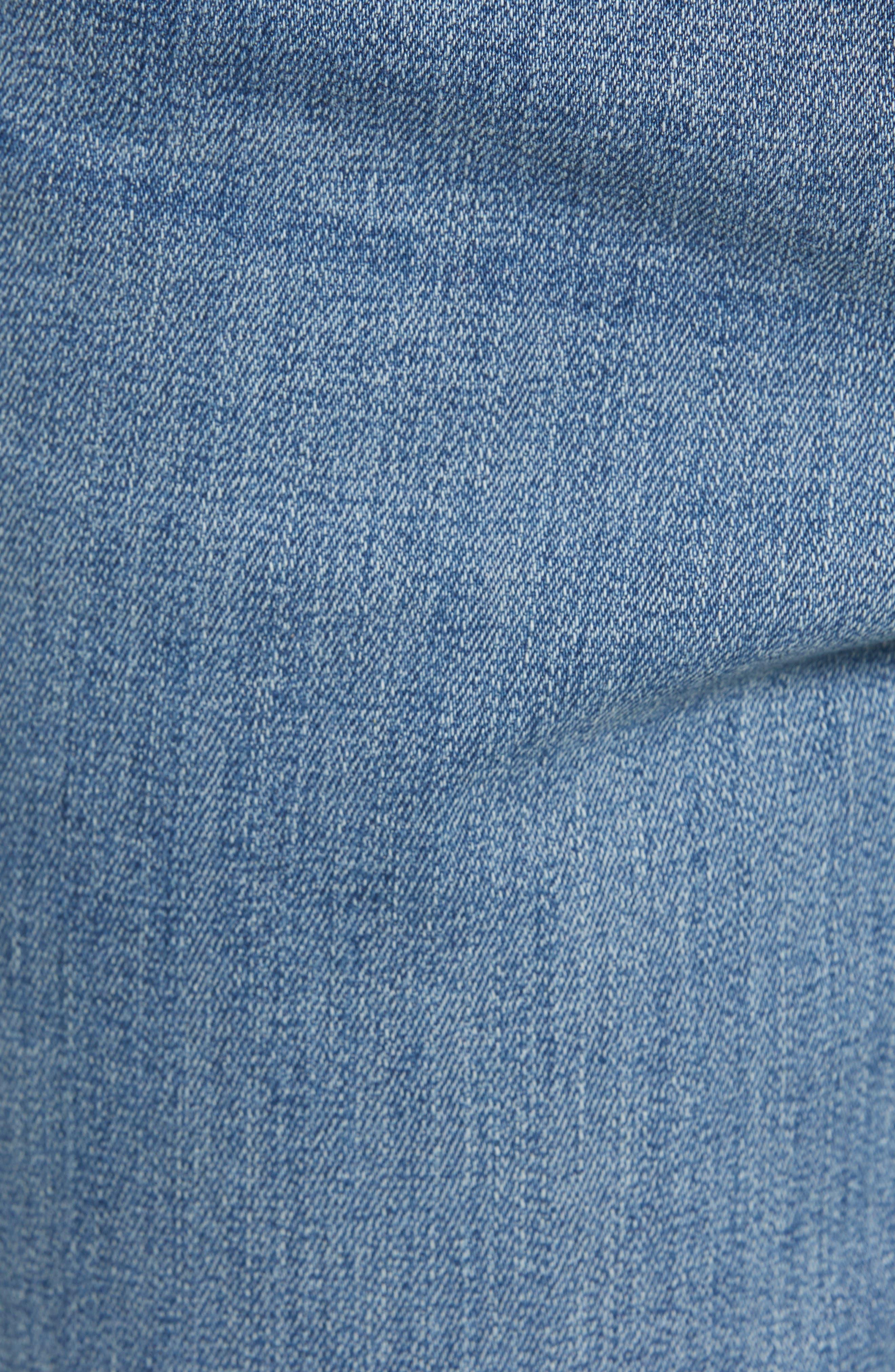 High Waist Lace Up Hem Capri Jeans,                             Alternate thumbnail 6, color,                             417