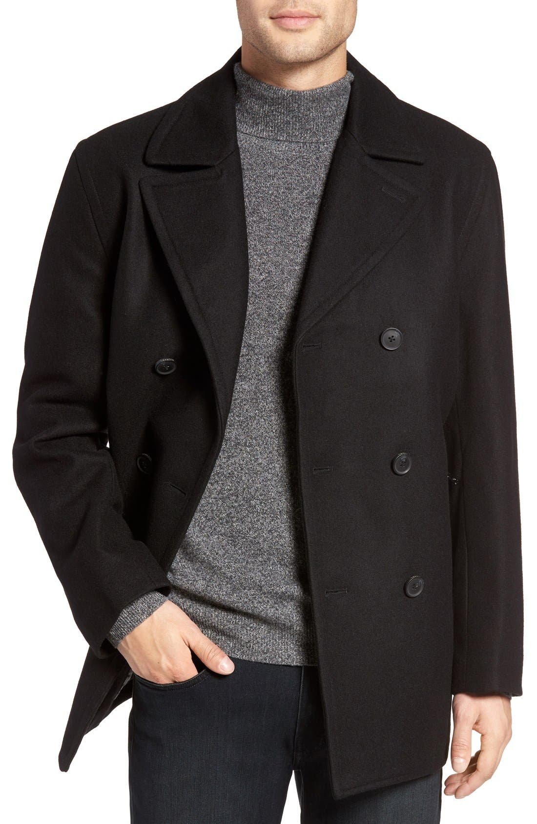 Wool Blend Double Breasted Peacoat,                         Main,                         color, BLACK