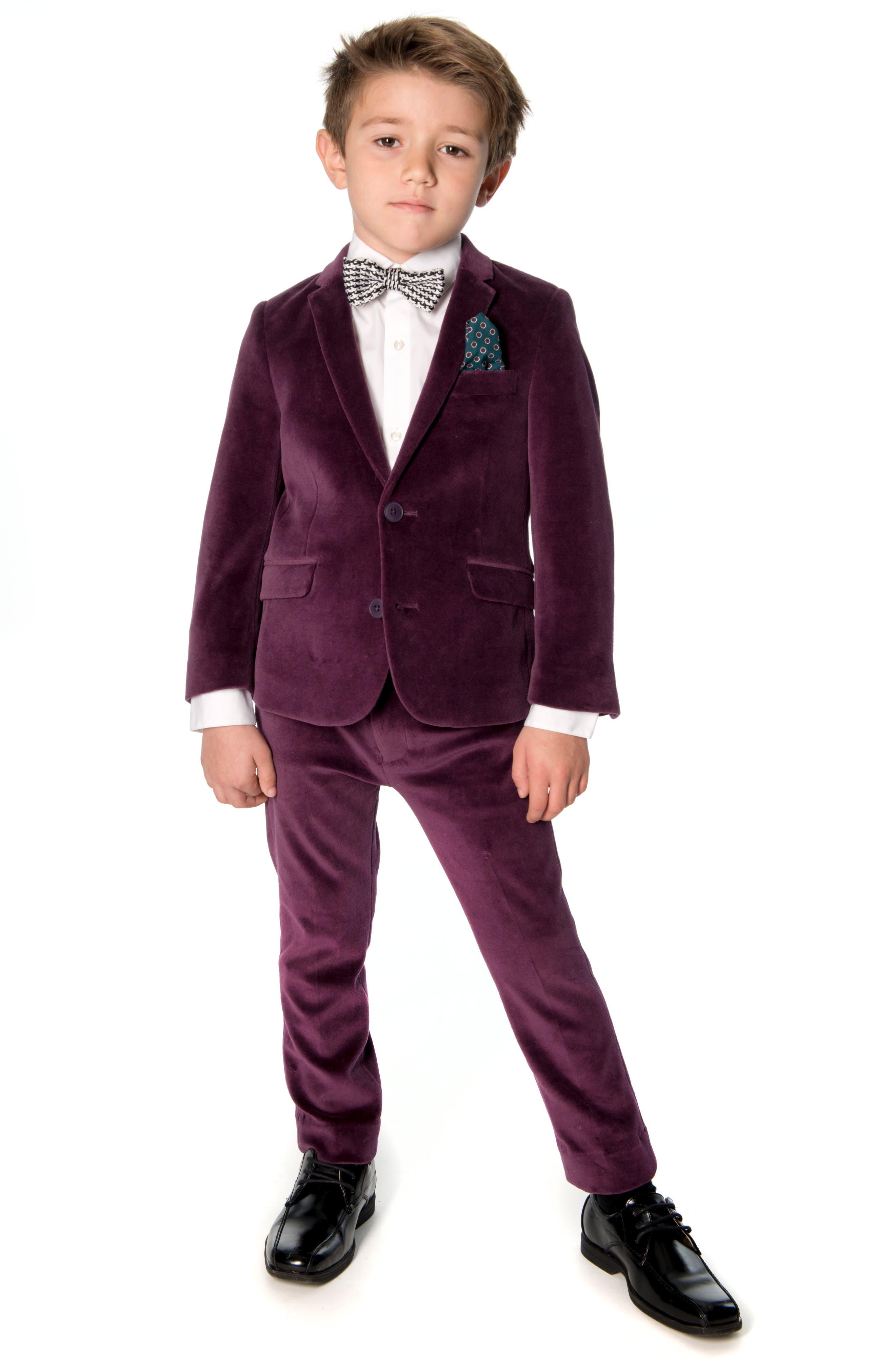 Mod Two-Piece Velveteen Suit,                             Alternate thumbnail 3, color,                             MERLOT VELVET