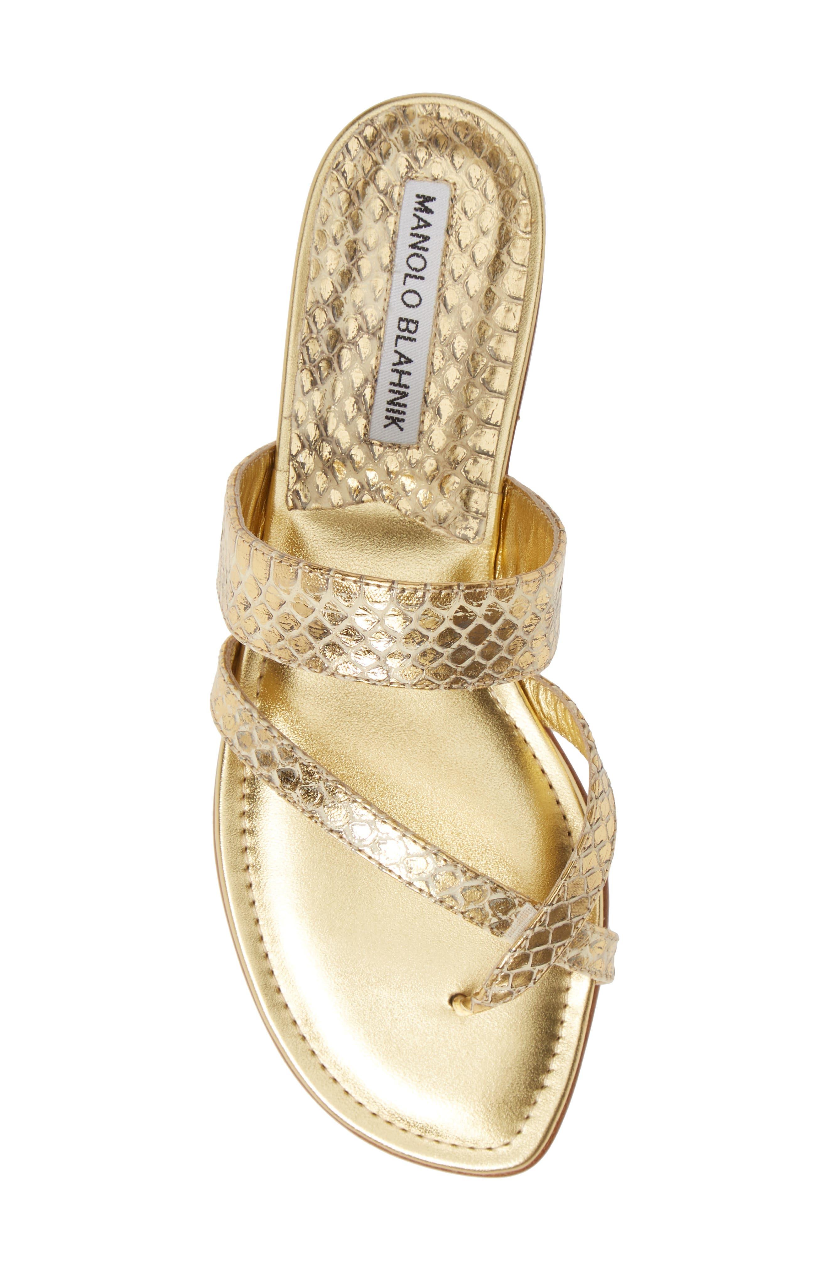 MANOLO BLAHNIK,                             'Susa' Genuine Snakeskin Sandal,                             Alternate thumbnail 5, color,                             GOLD WATERSNAKE