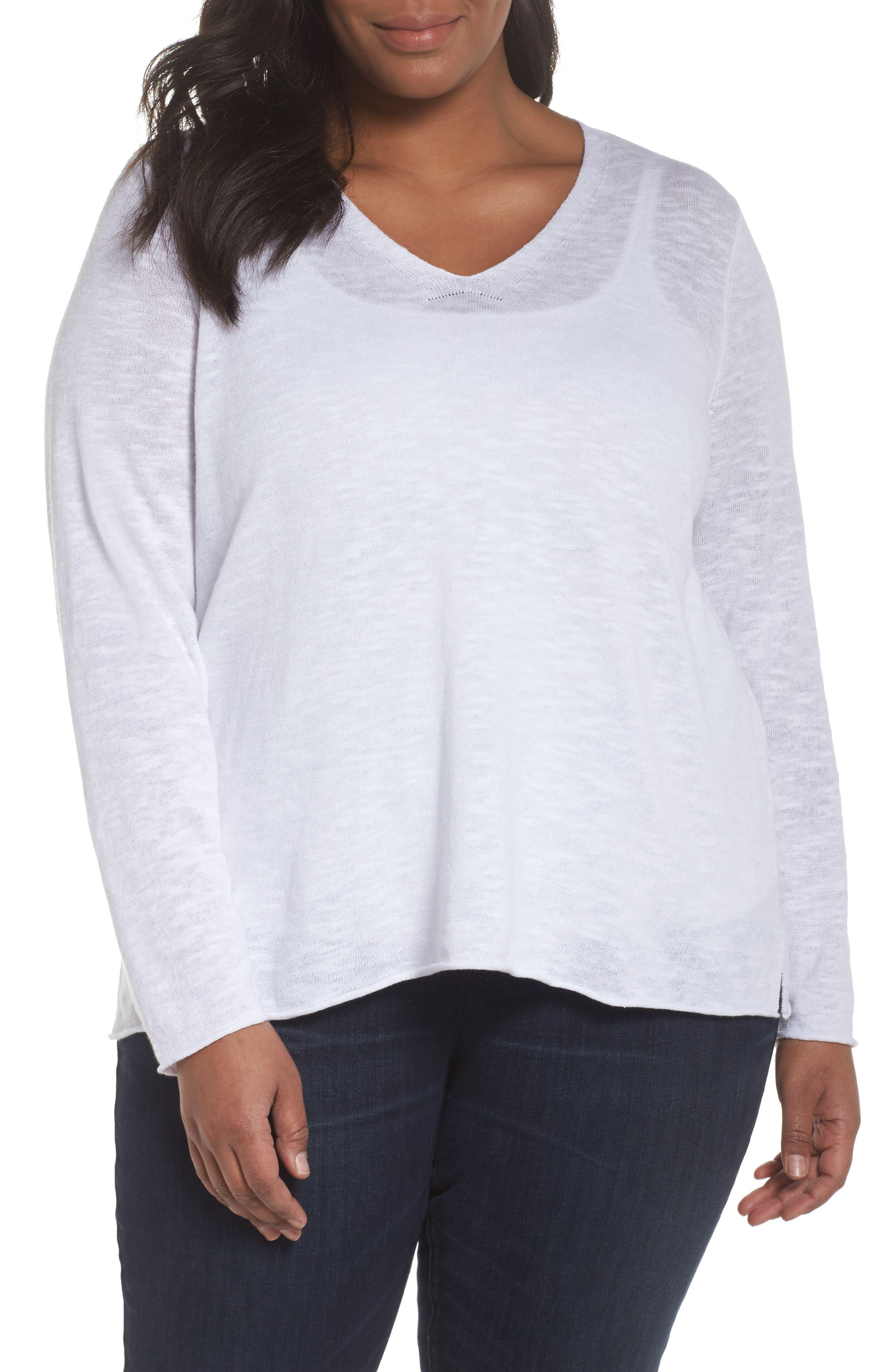 Boxy Organic Linen & Cotton Sweater,                             Main thumbnail 1, color,                             100