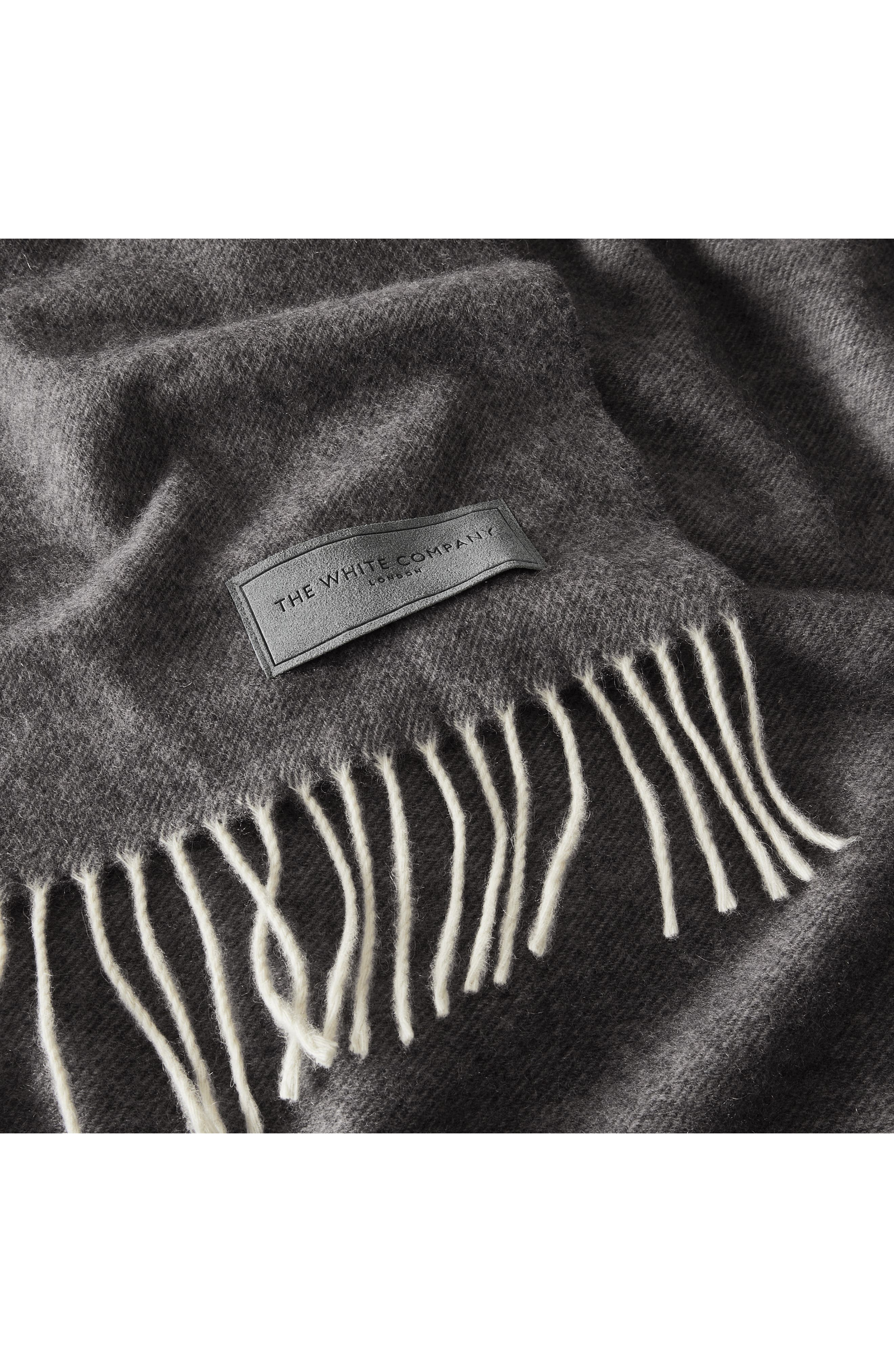 Pure Cashmere Throw,                             Alternate thumbnail 2, color,                             CHARCOAL