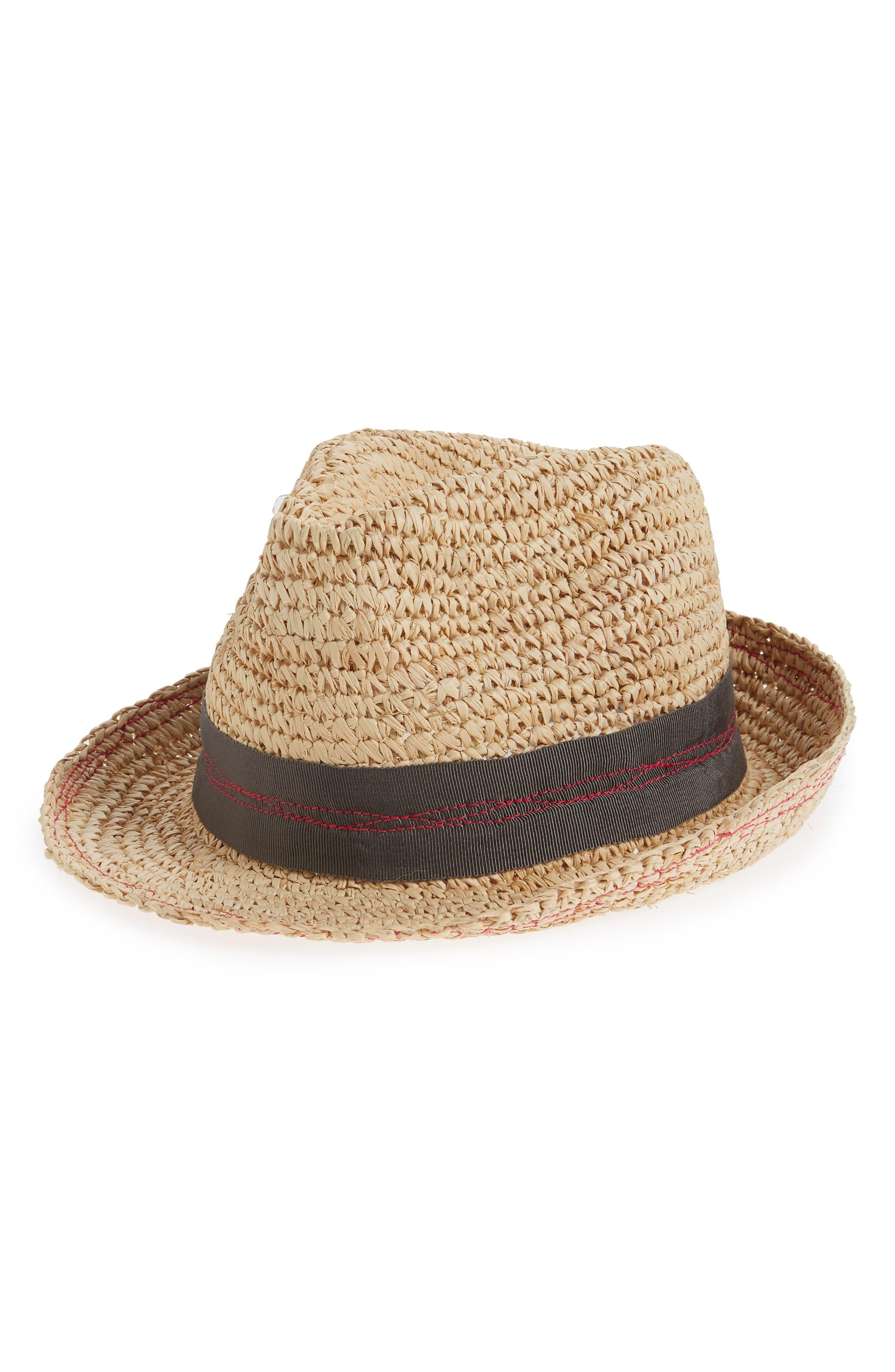 Tarboush Azure Raffia Hat,                             Main thumbnail 1, color,                             GREY