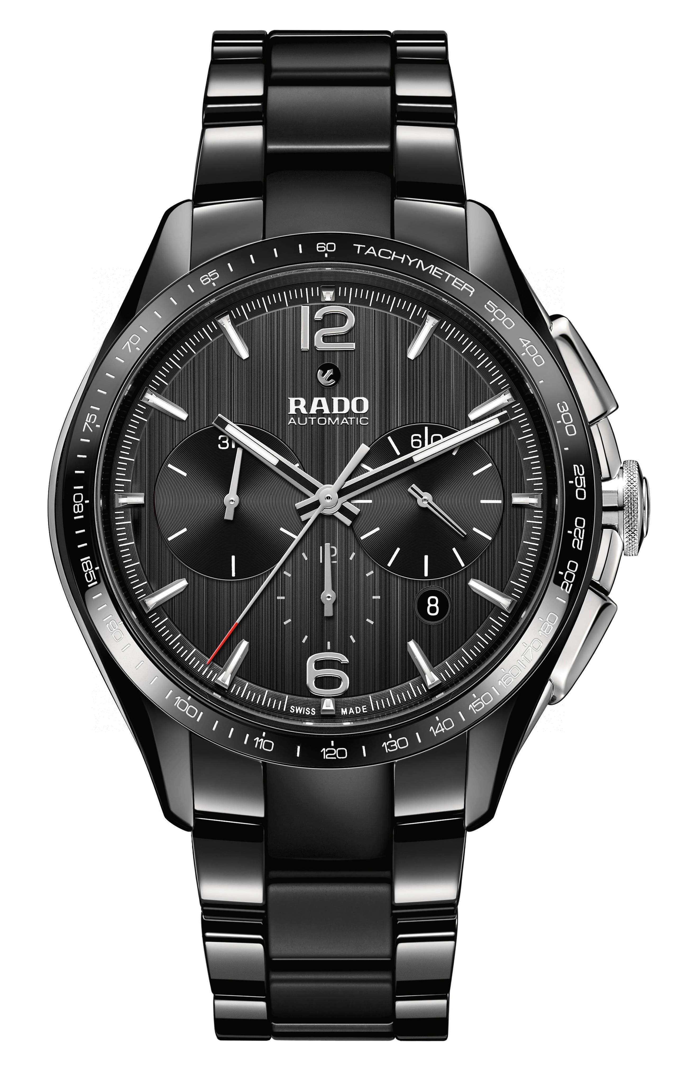 HyperChrome Automatic Chronograph Bracelet Watch, 45mm,                             Main thumbnail 1, color,                             BLACK