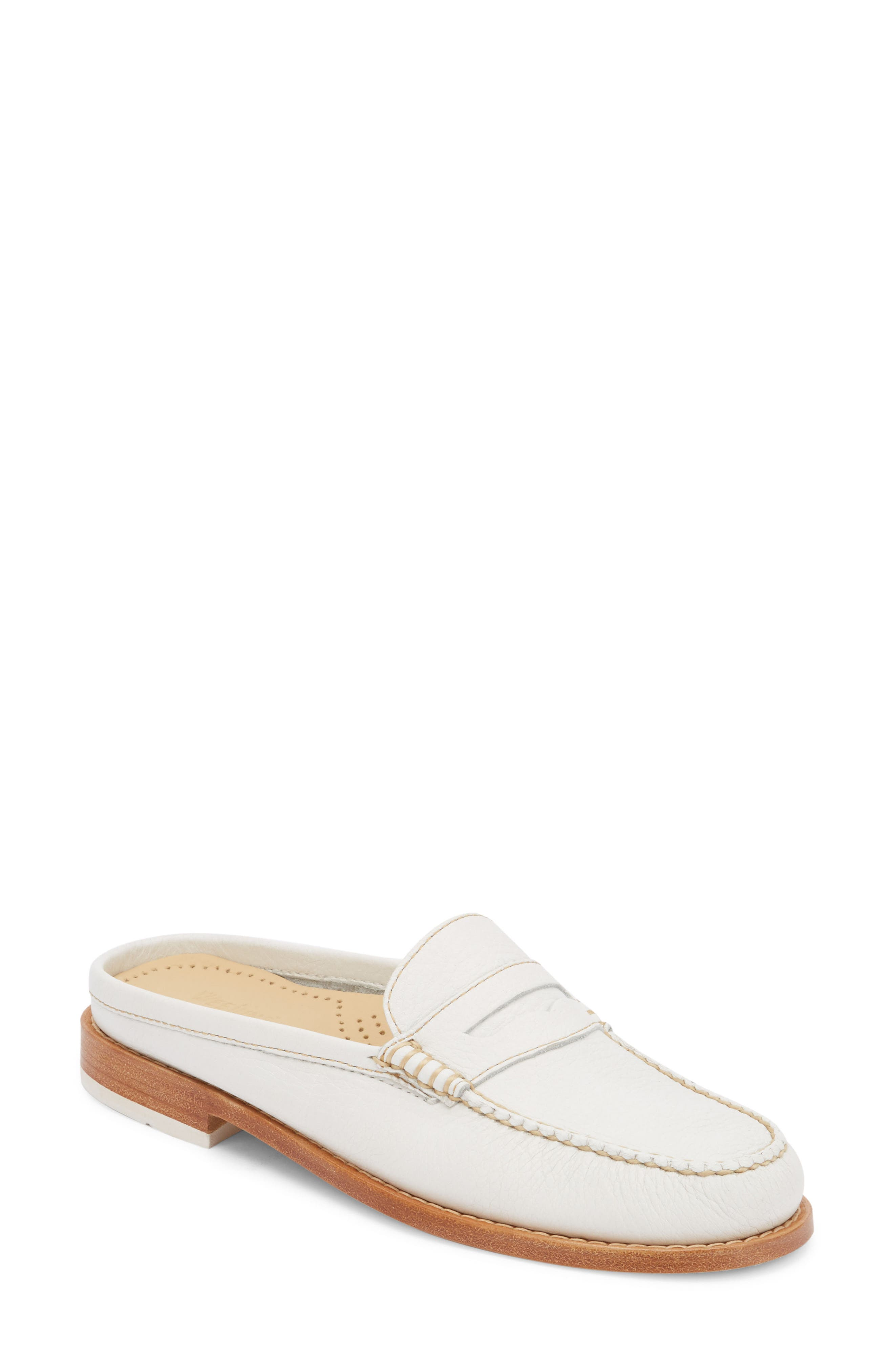 Wynn Loafer Mule,                         Main,                         color, WHITE/ WHITE LEATHER