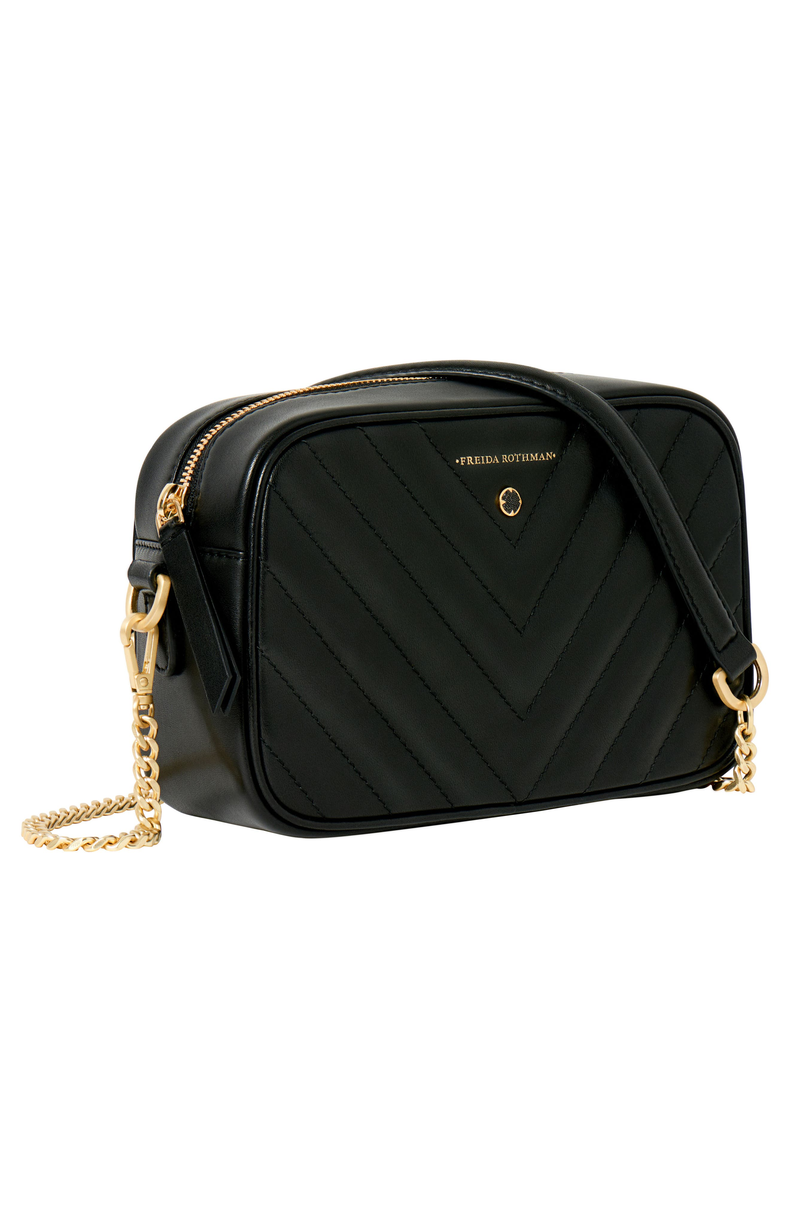 Lexington Quilted Leather Camera Bag,                             Alternate thumbnail 3, color,                             BLACK
