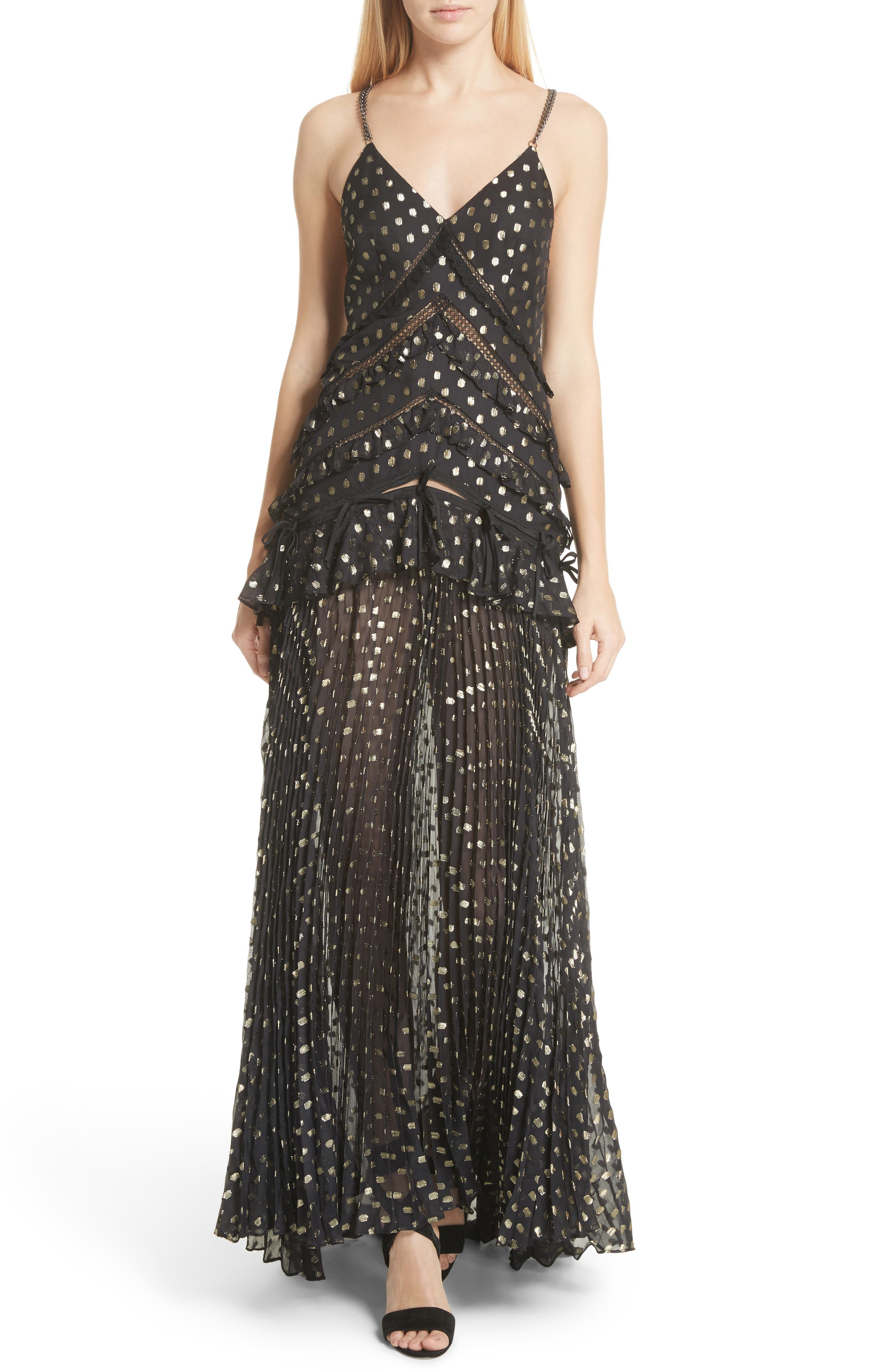 Metallic Polka Dot Chain Strap Dress,                             Main thumbnail 1, color,                             004