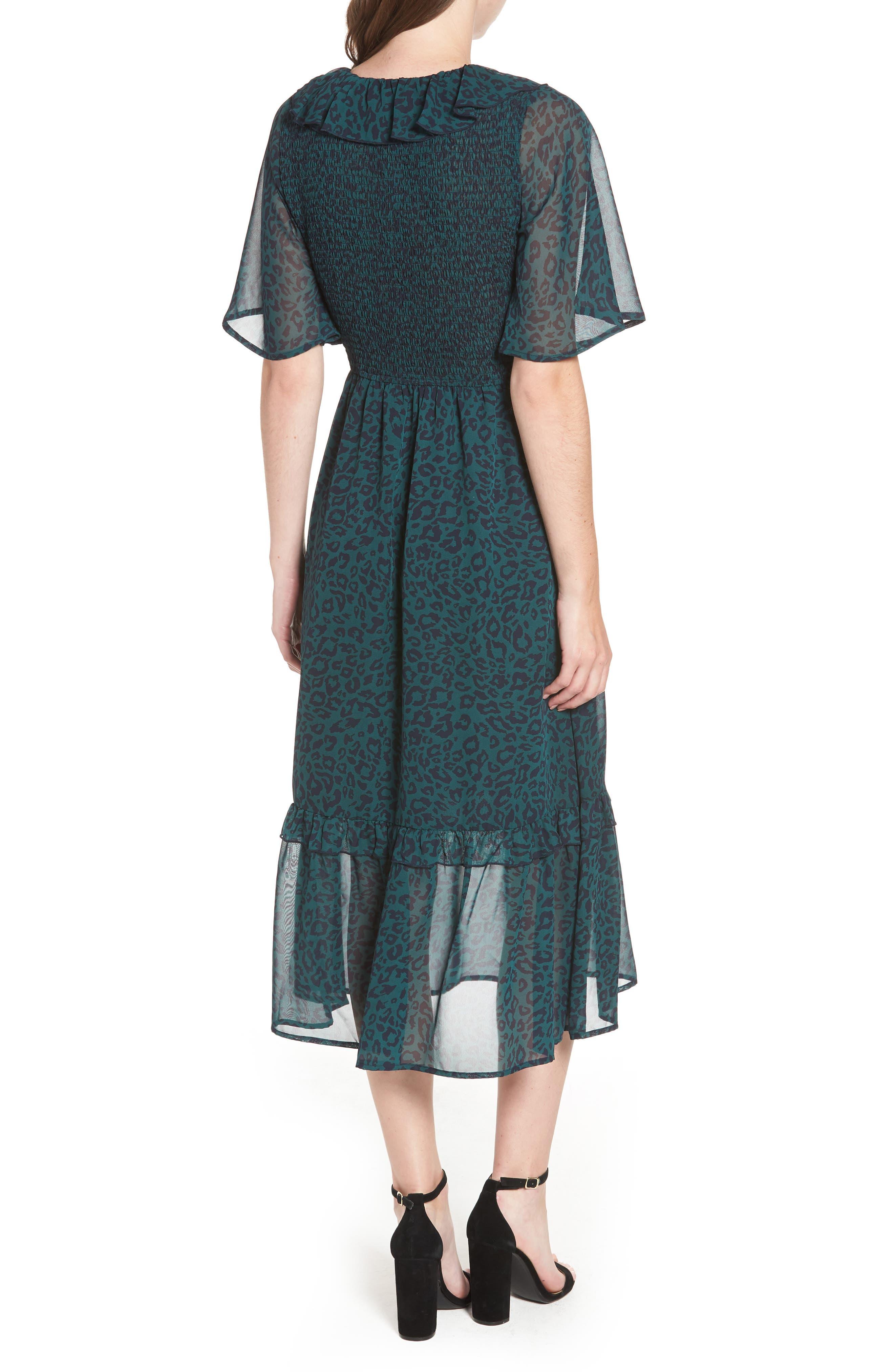 Leopard Print Smocked Dress,                             Alternate thumbnail 2, color,                             GREEN LEOPARD