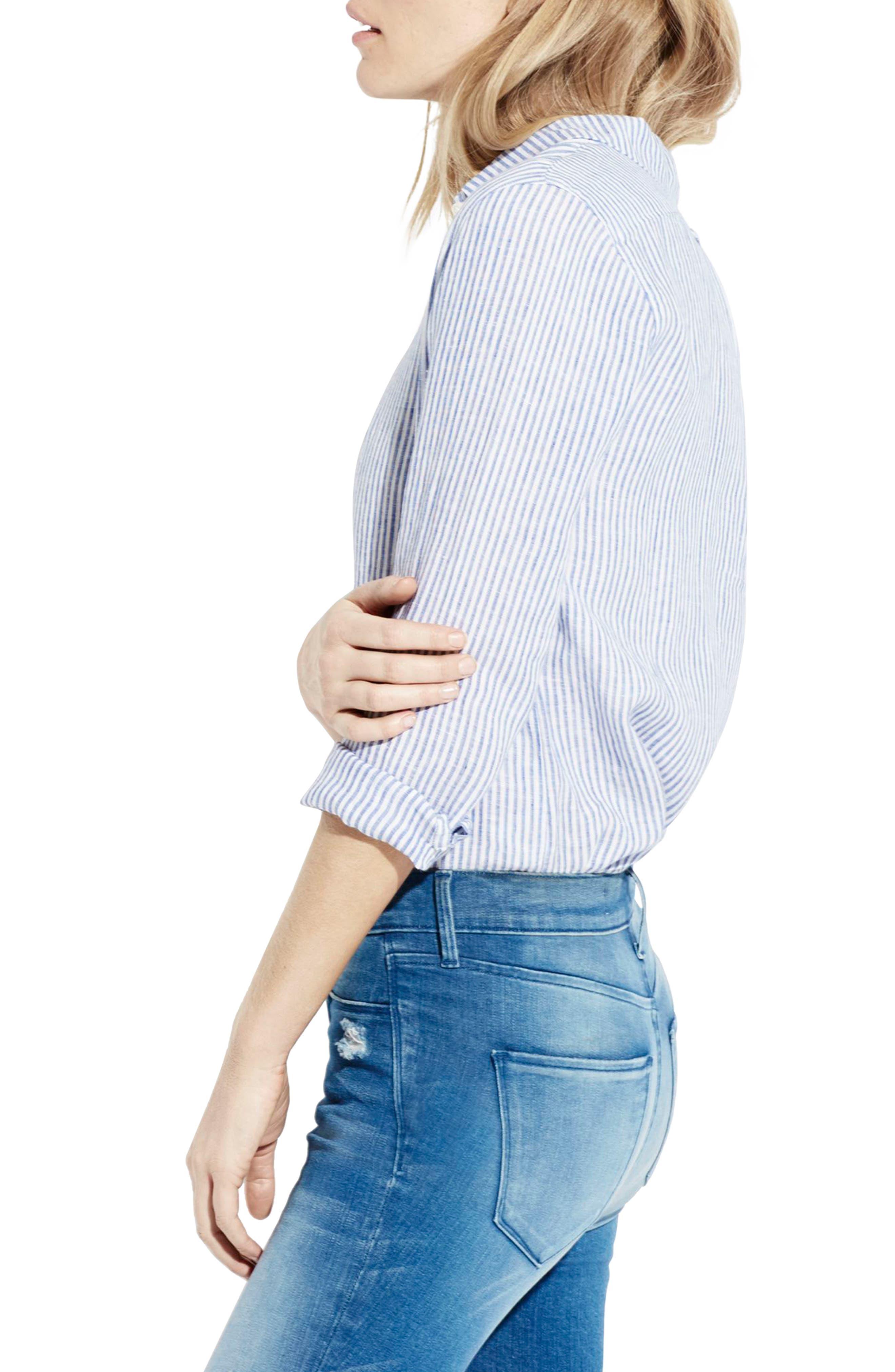 The Striped Easy Linen Shirt,                             Alternate thumbnail 4, color,                             414