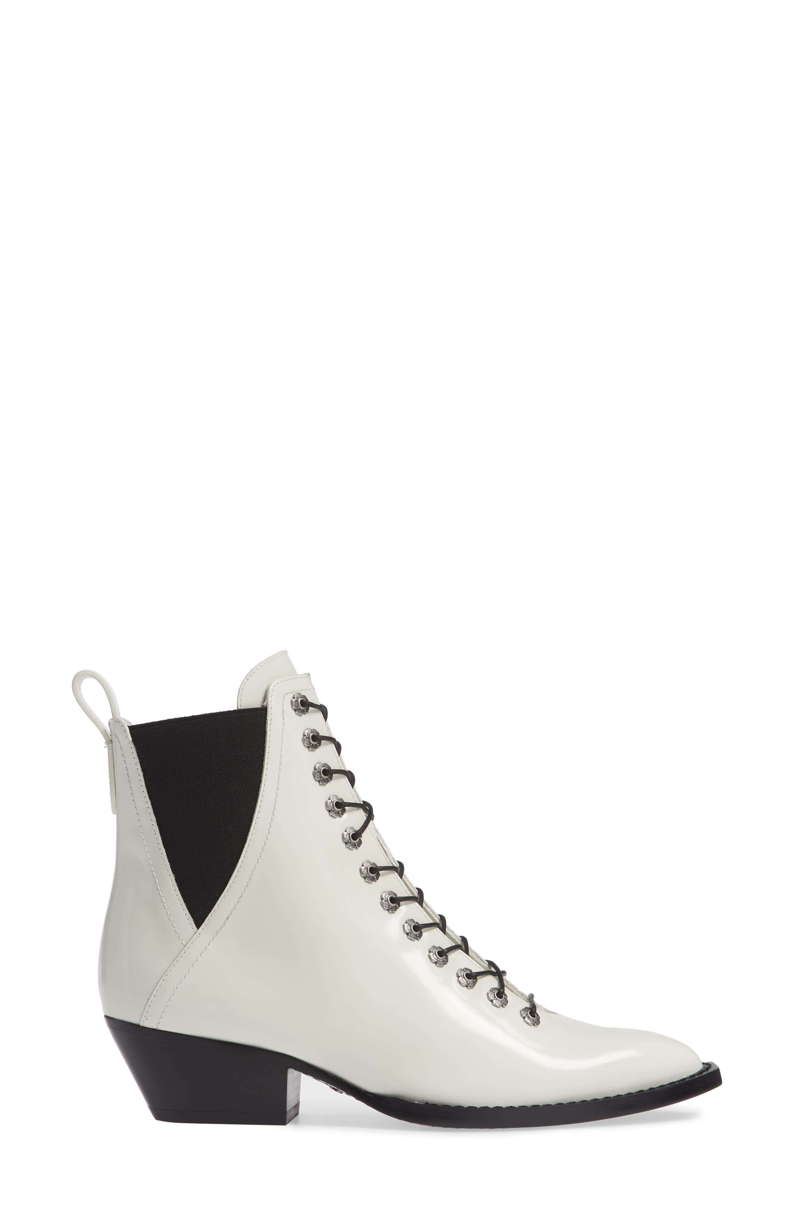 Lace-Up Bootie,                             Alternate thumbnail 3, color,                             IVORY LEATHER