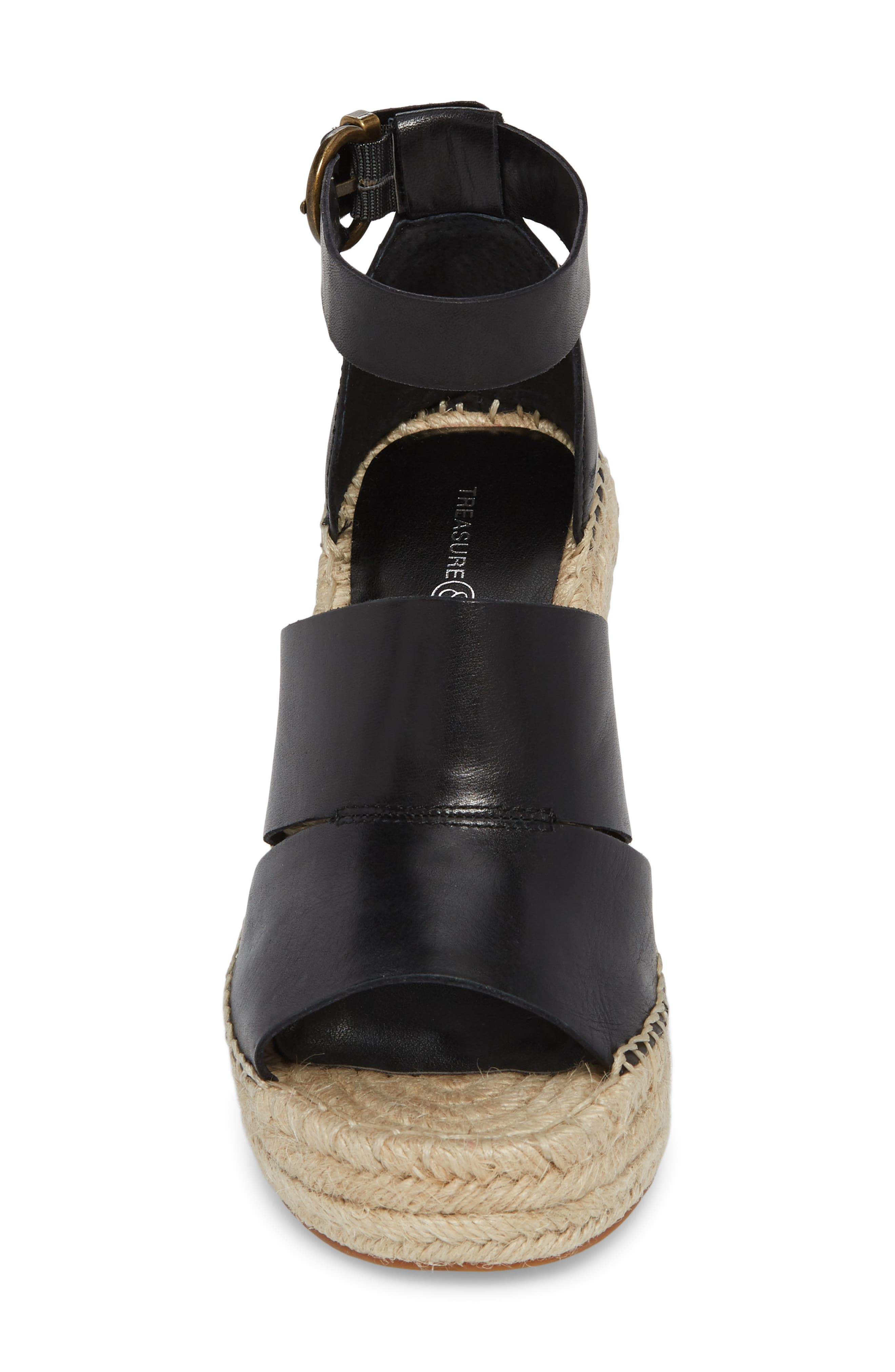 Sannibel Platform Wedge Sandal,                             Alternate thumbnail 4, color,                             BLACK LEATHER