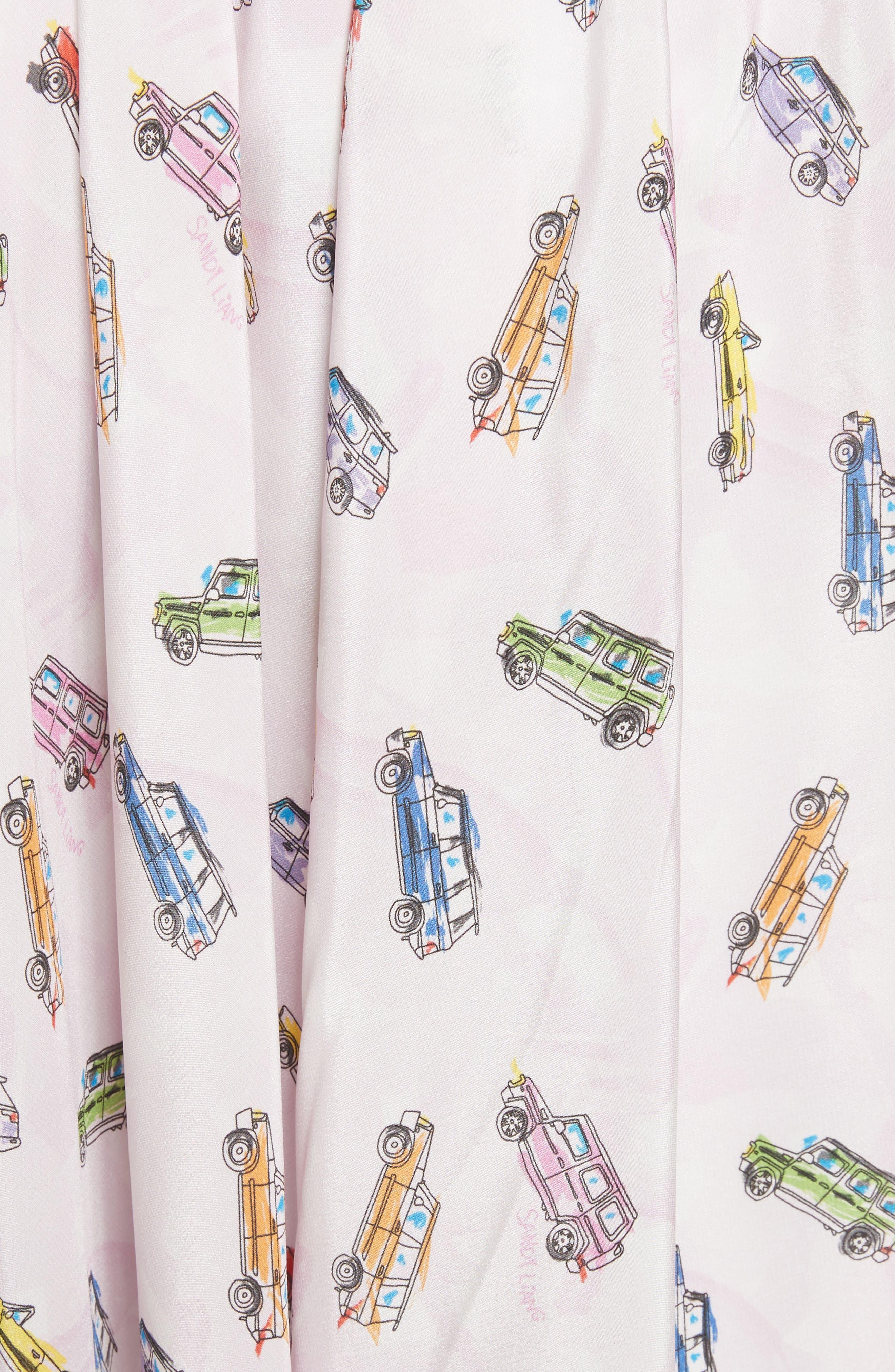 Linguini Car Print Silk Skirt,                             Alternate thumbnail 5, color,