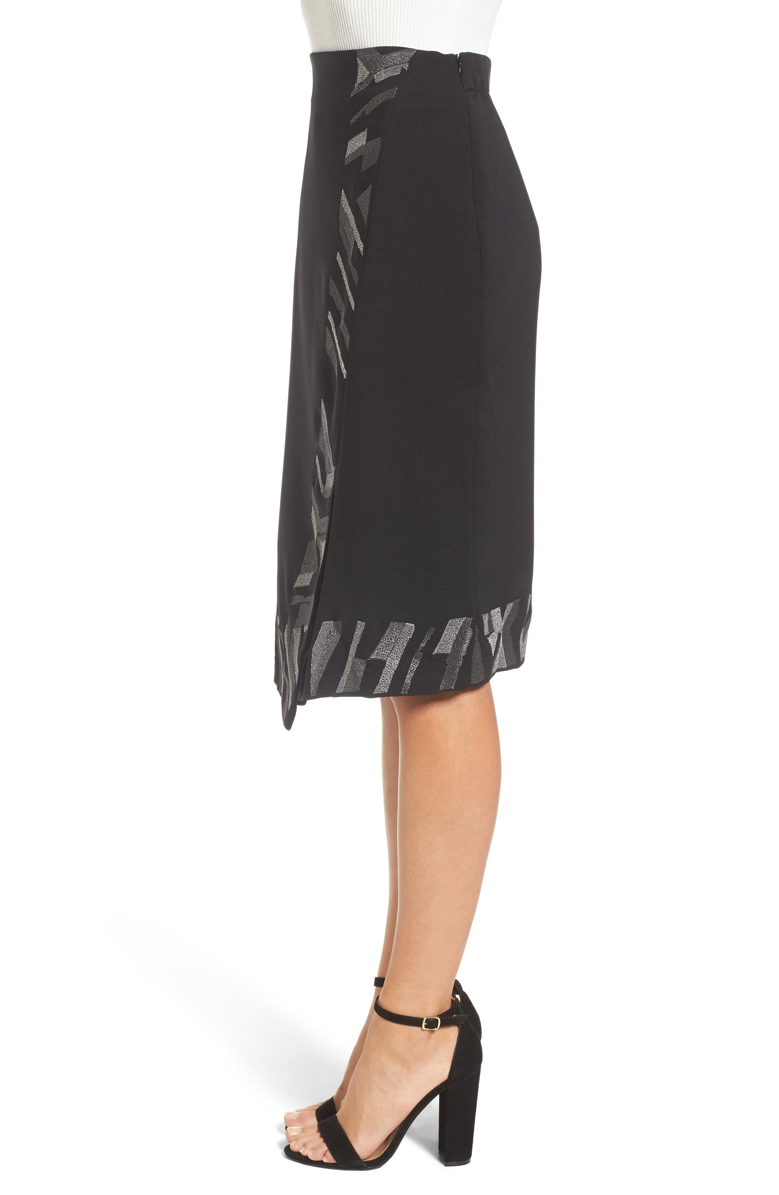 Trimmed Time Faux Wrap Skirt,                             Alternate thumbnail 3, color,                             009